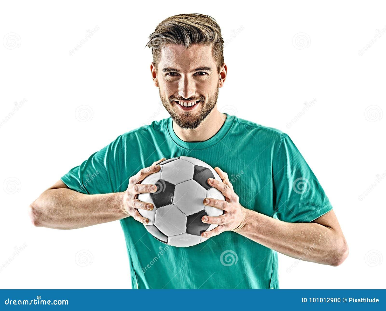 Un fond blanc d isolement par position d homme de footballeur