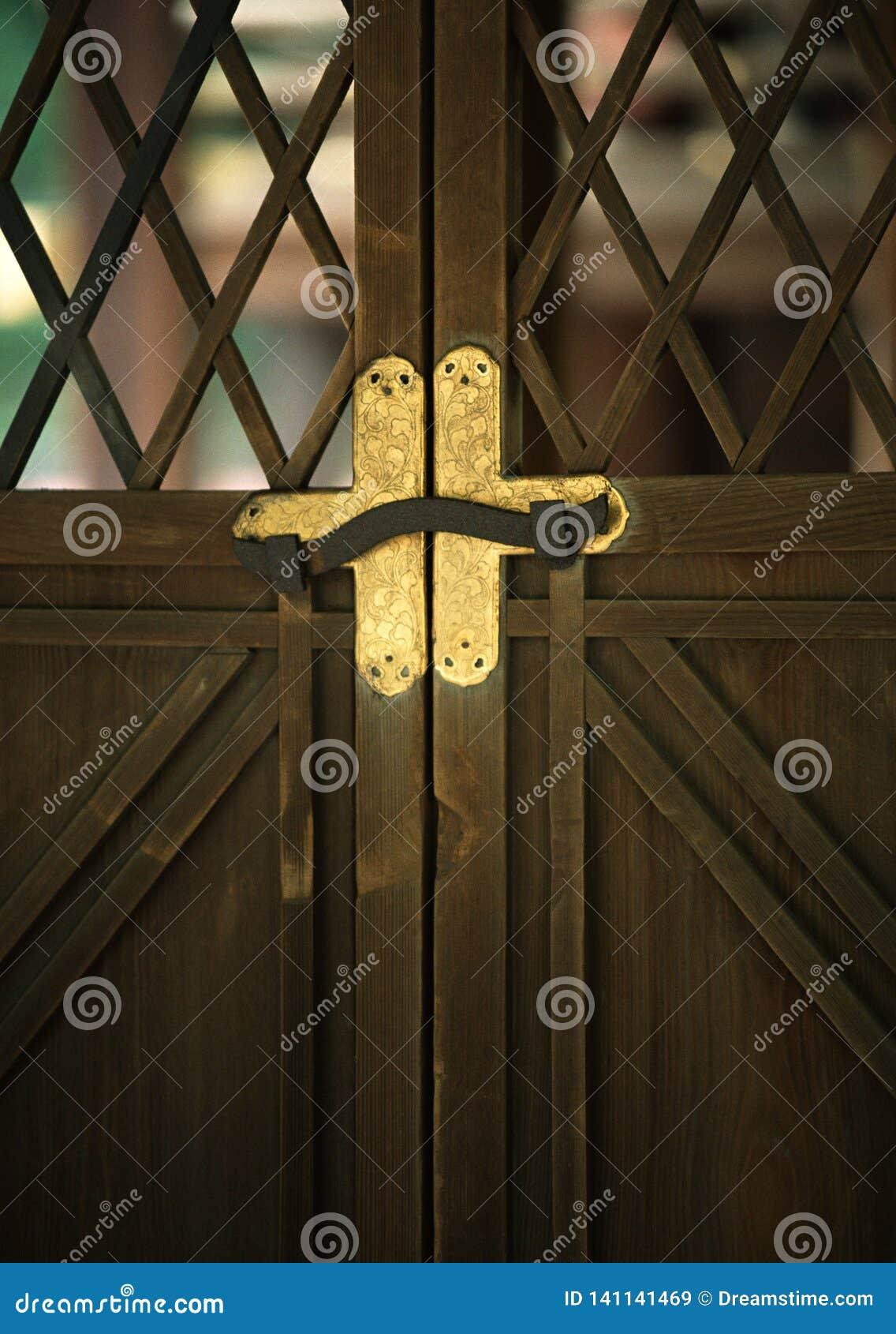 Un fond en bois de détail de système de verrou de porte d or japonais