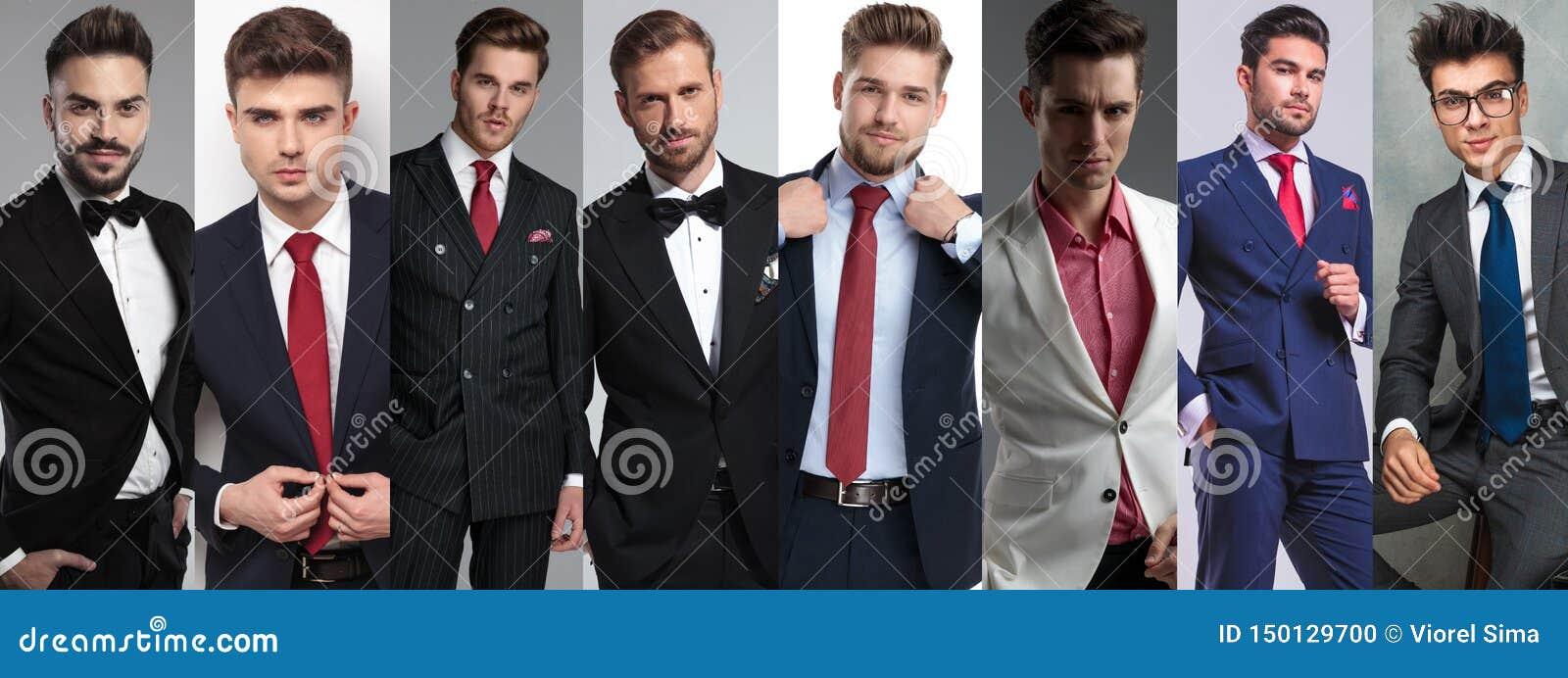 Un fotomontaggio posa casuale di otto di giovane uomini