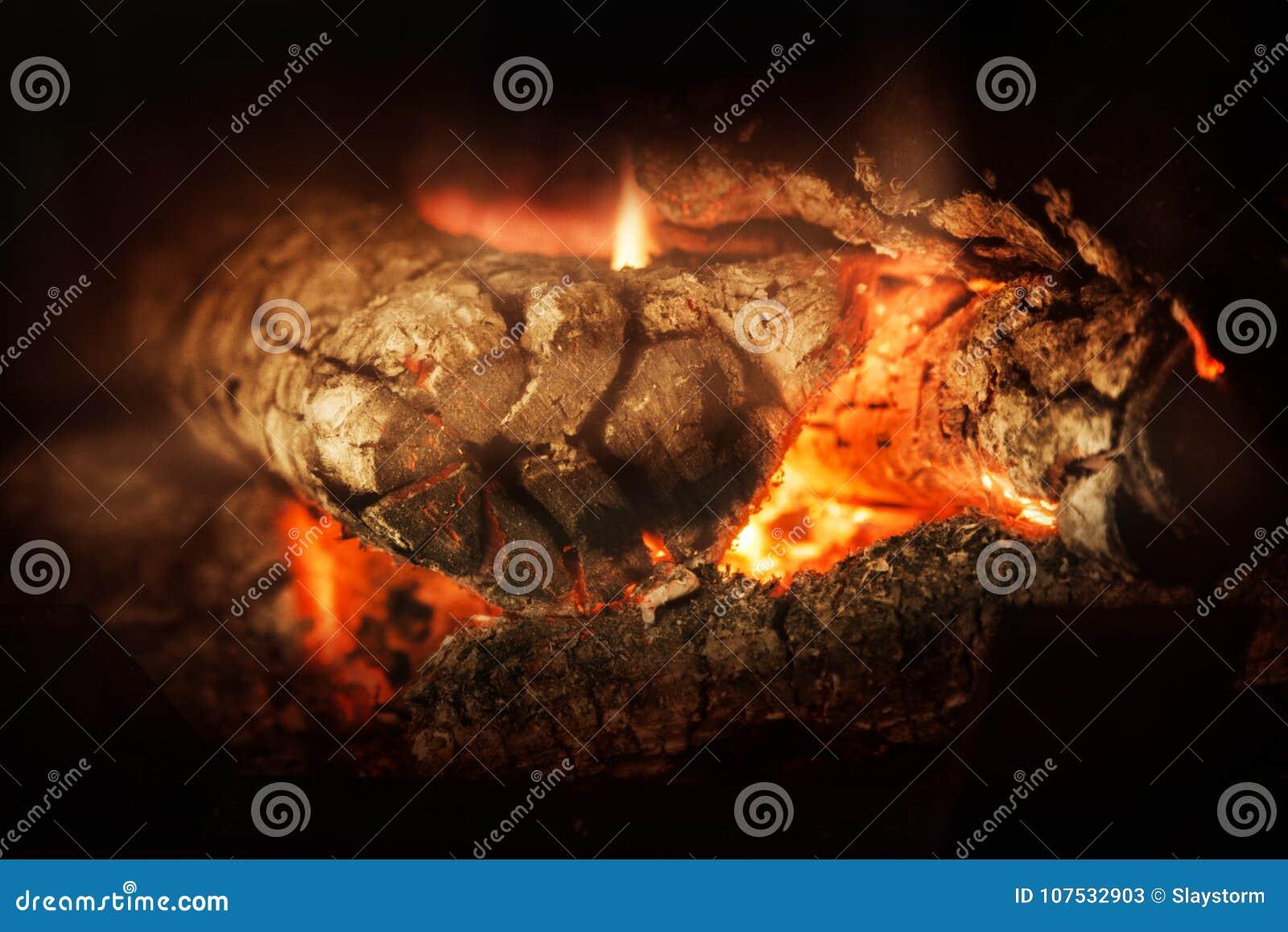 Un fuego de madera ardiente en chimenea