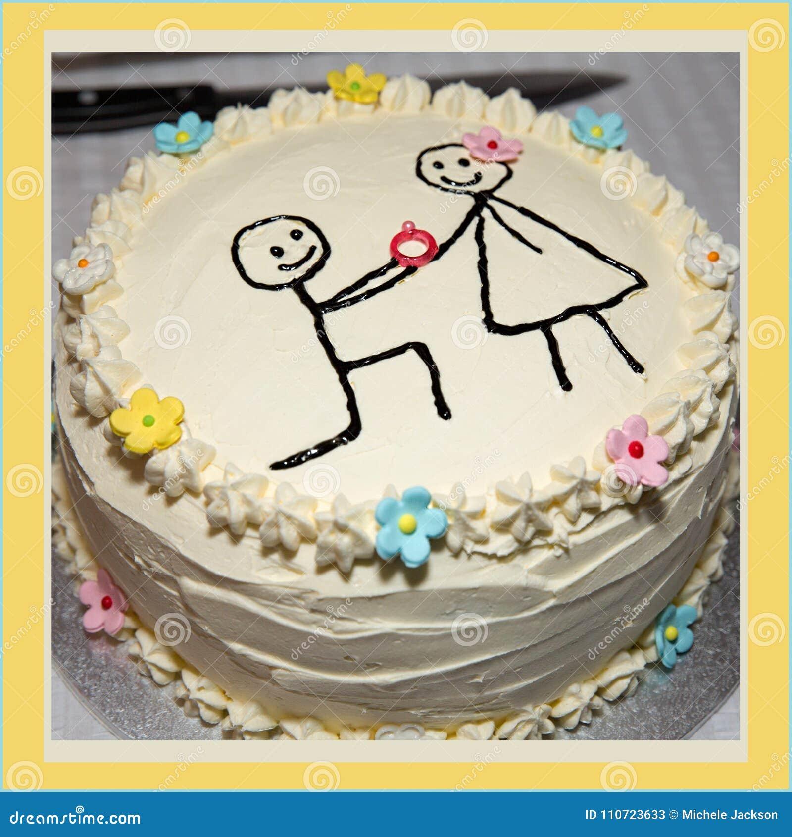 Un Gateau Simple D Engagement Image Stock Image Du Gateau Manger