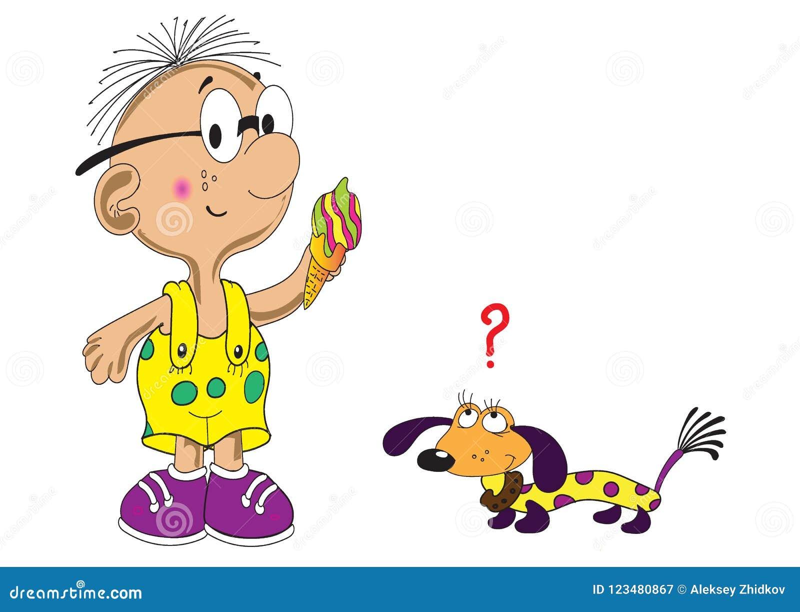 Un garçon avec une crème glacée et un chien prudent de teckel