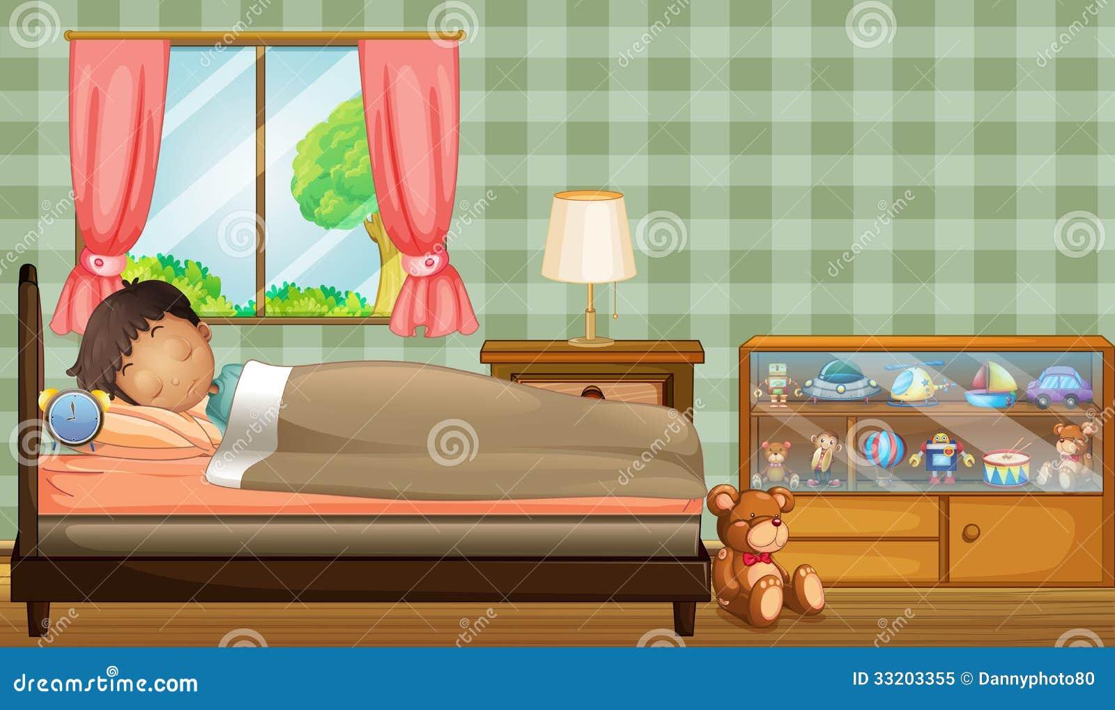 Un garçon dormant solidement à l intérieur de sa pièce