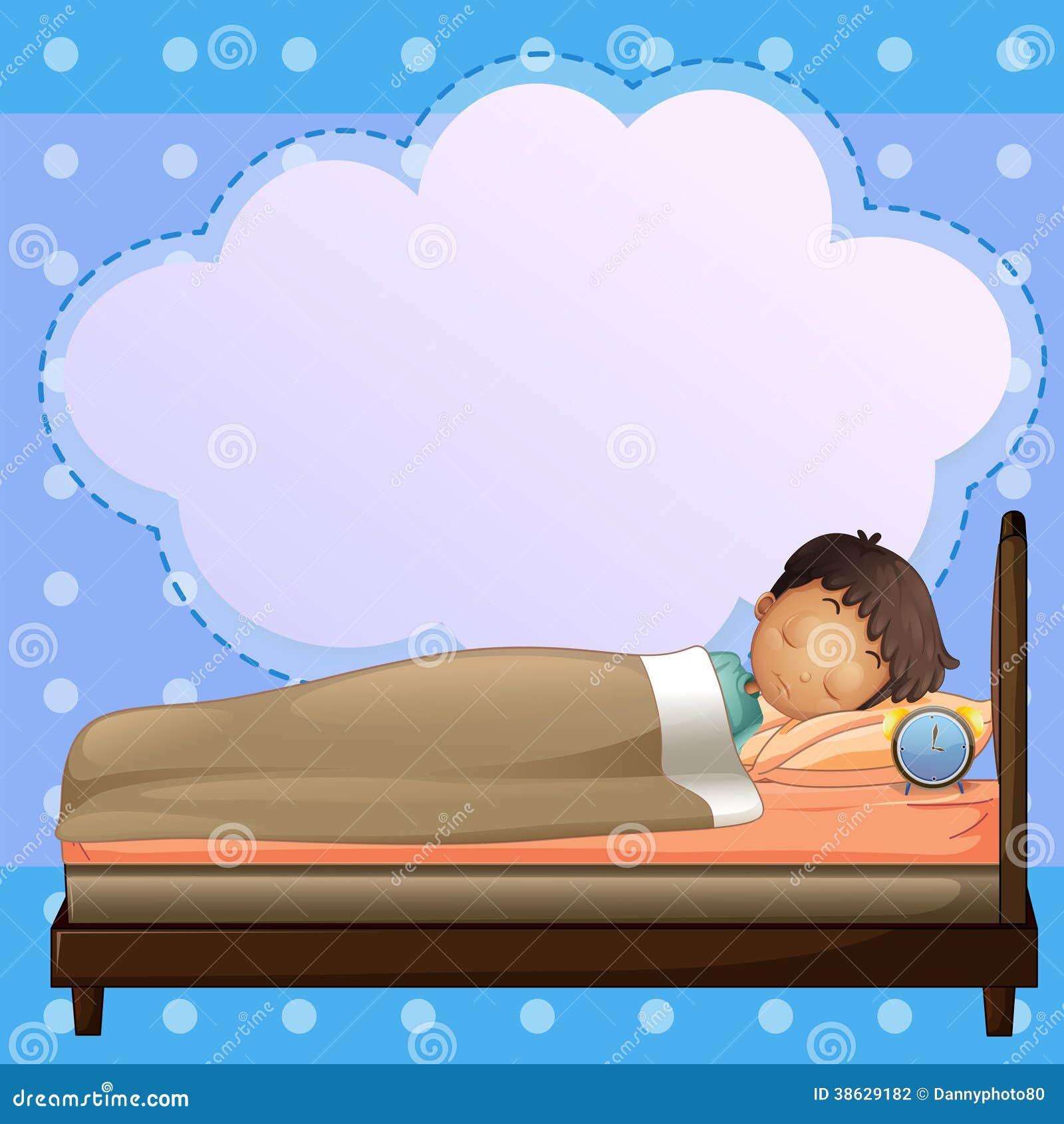 Un garçon dormant solidement avec une légende vide