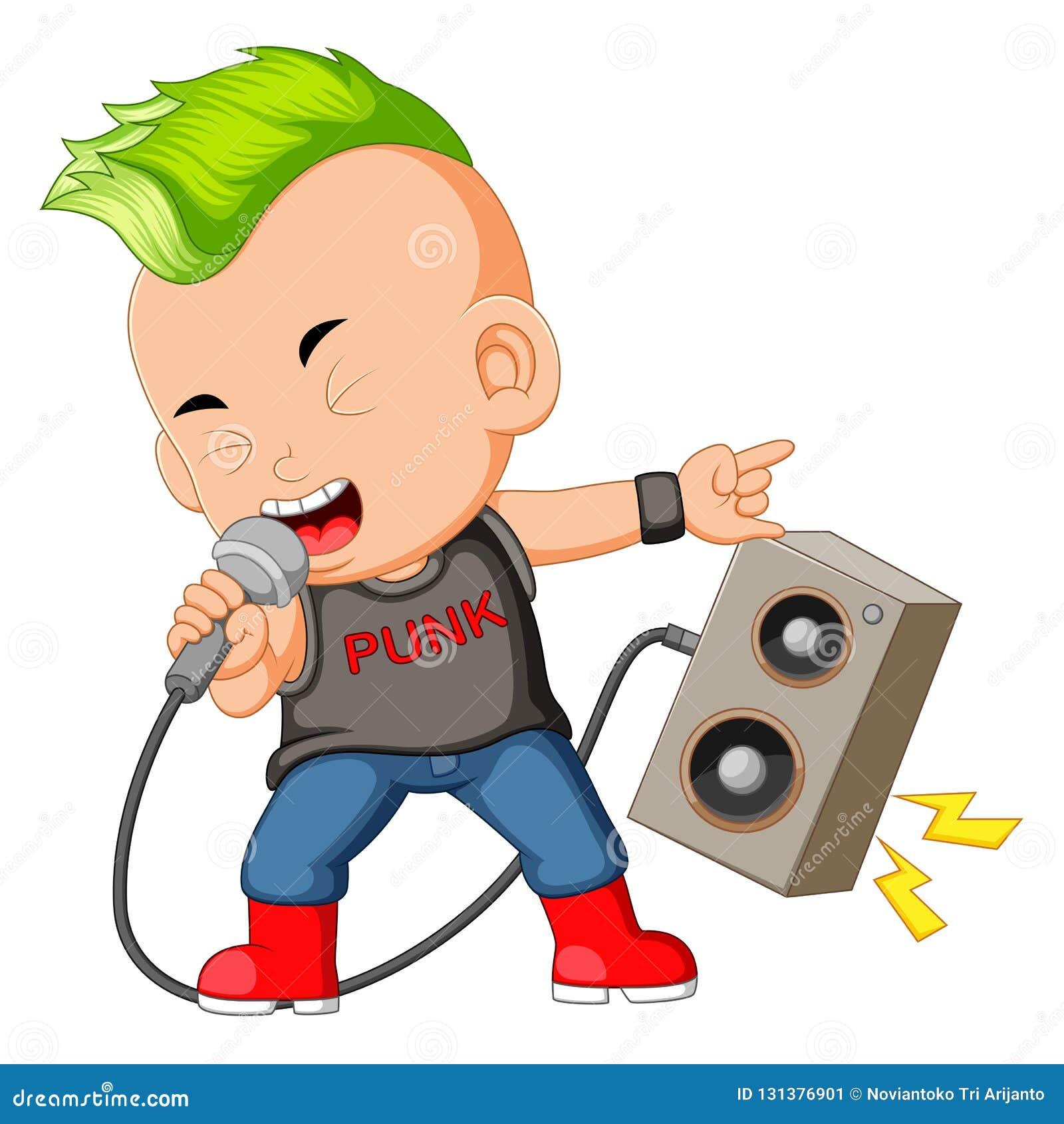 Un garçon habillé comme Rockstar chantant devant un haut-parleur