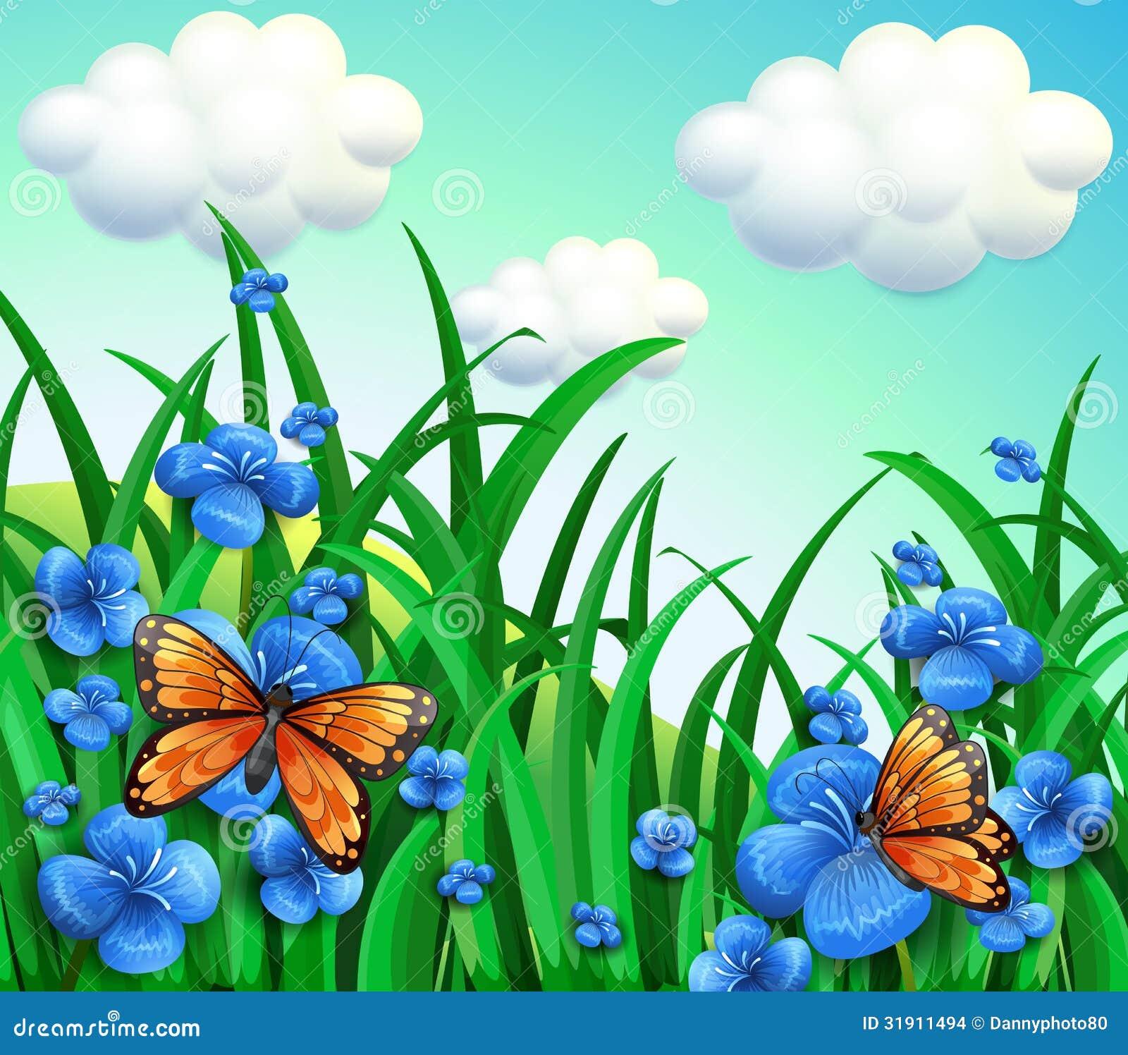 Un giardino con i fiori blu e le farfalle arancio for Giardino con fiori