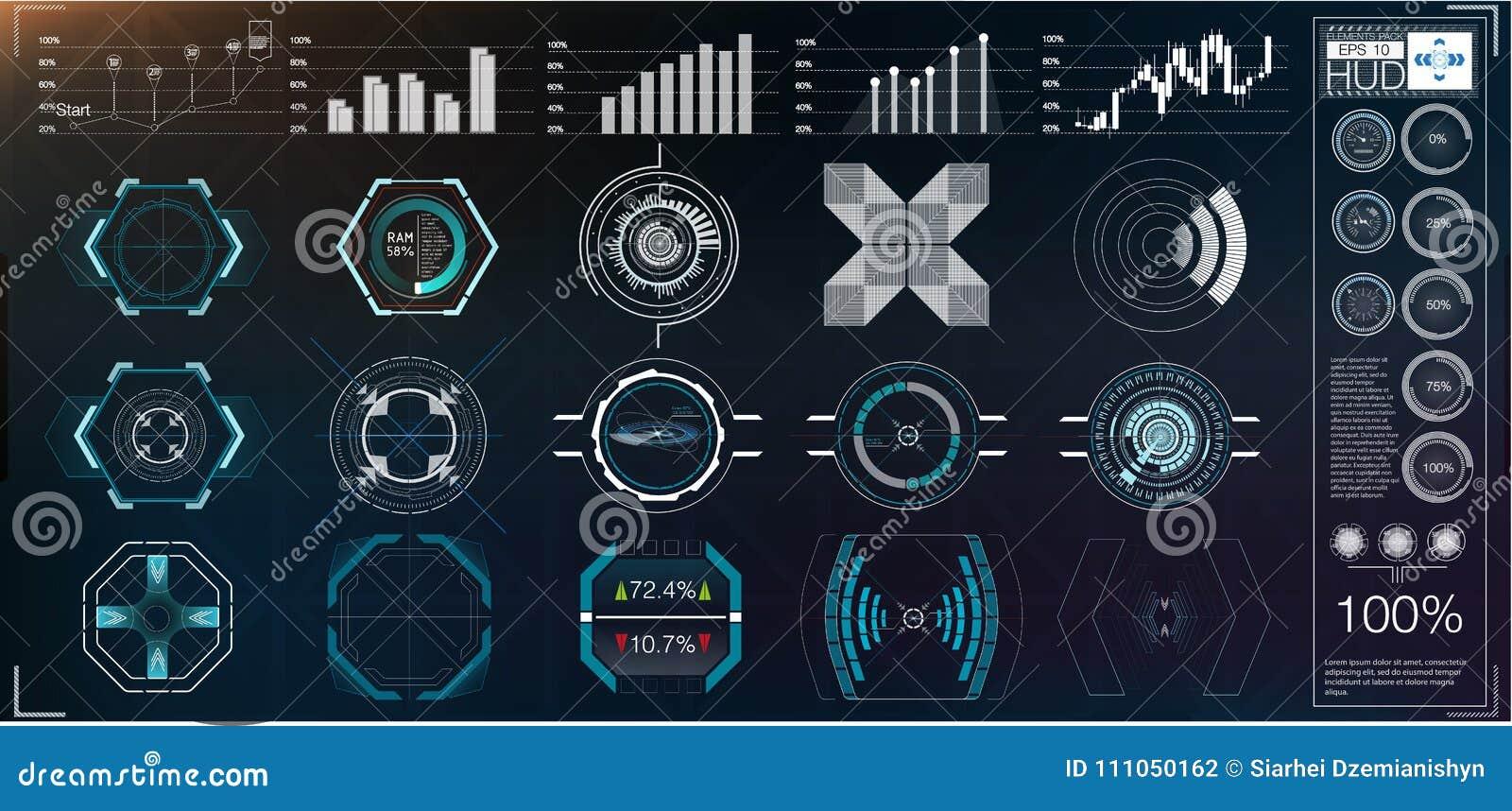 Un grand paquet des instruments d éléments, de graphiques, d affichages, analogues et numériques de hud, échelles de radar HUD ab