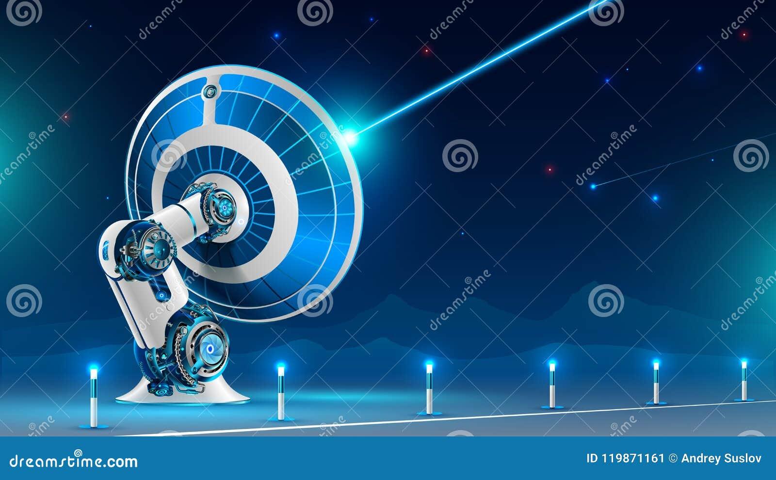 Un grand signal radio d émission d antenne parabolique dans le ciel nocturne dans les montagnes La technologie de la télévision p