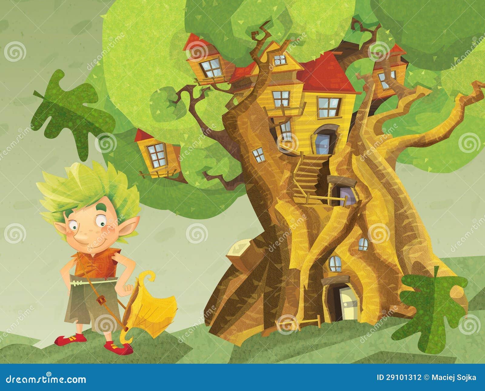 Estremamente Un Grande Disegno Fantastico - Dell'albero - Casa Per I Nani Ed I  SQ61