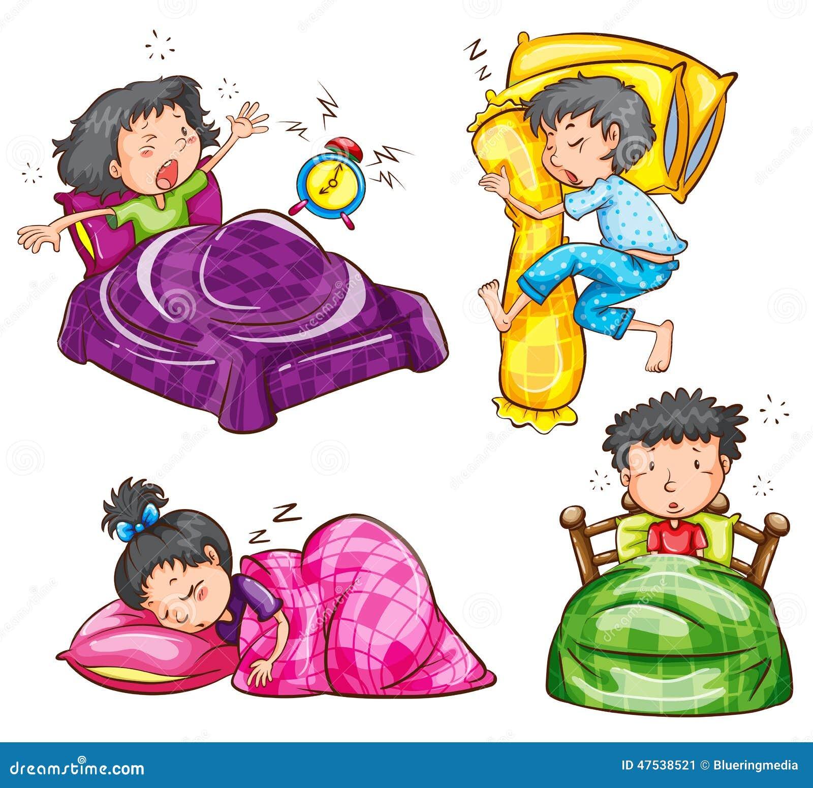 Un groupe d 39 enfants la chambre coucher illustration de for Chambre a coucher des enfants