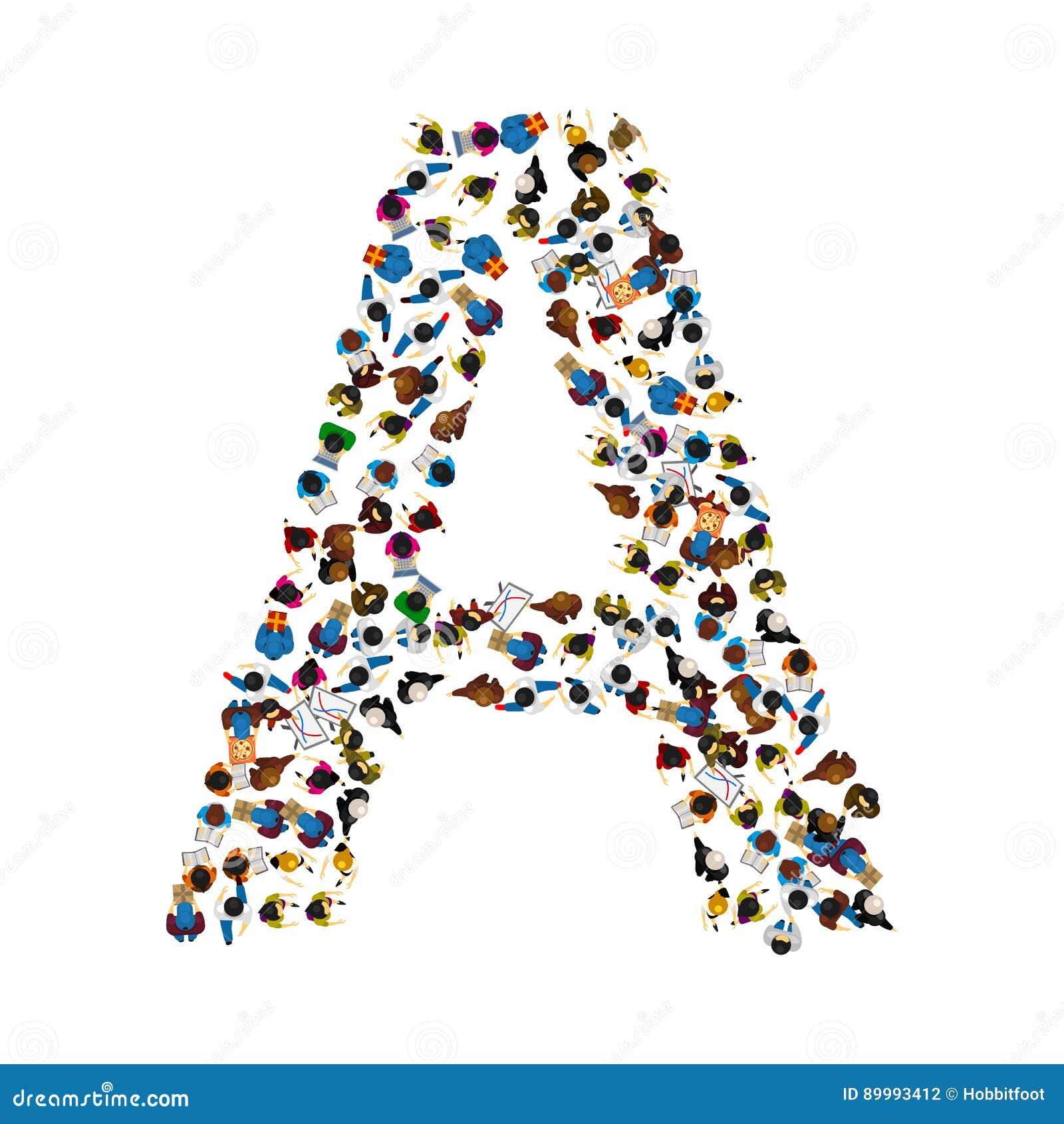 Un Groupe De Personnes Sous Forme D Alphabet Anglais Marquent Avec