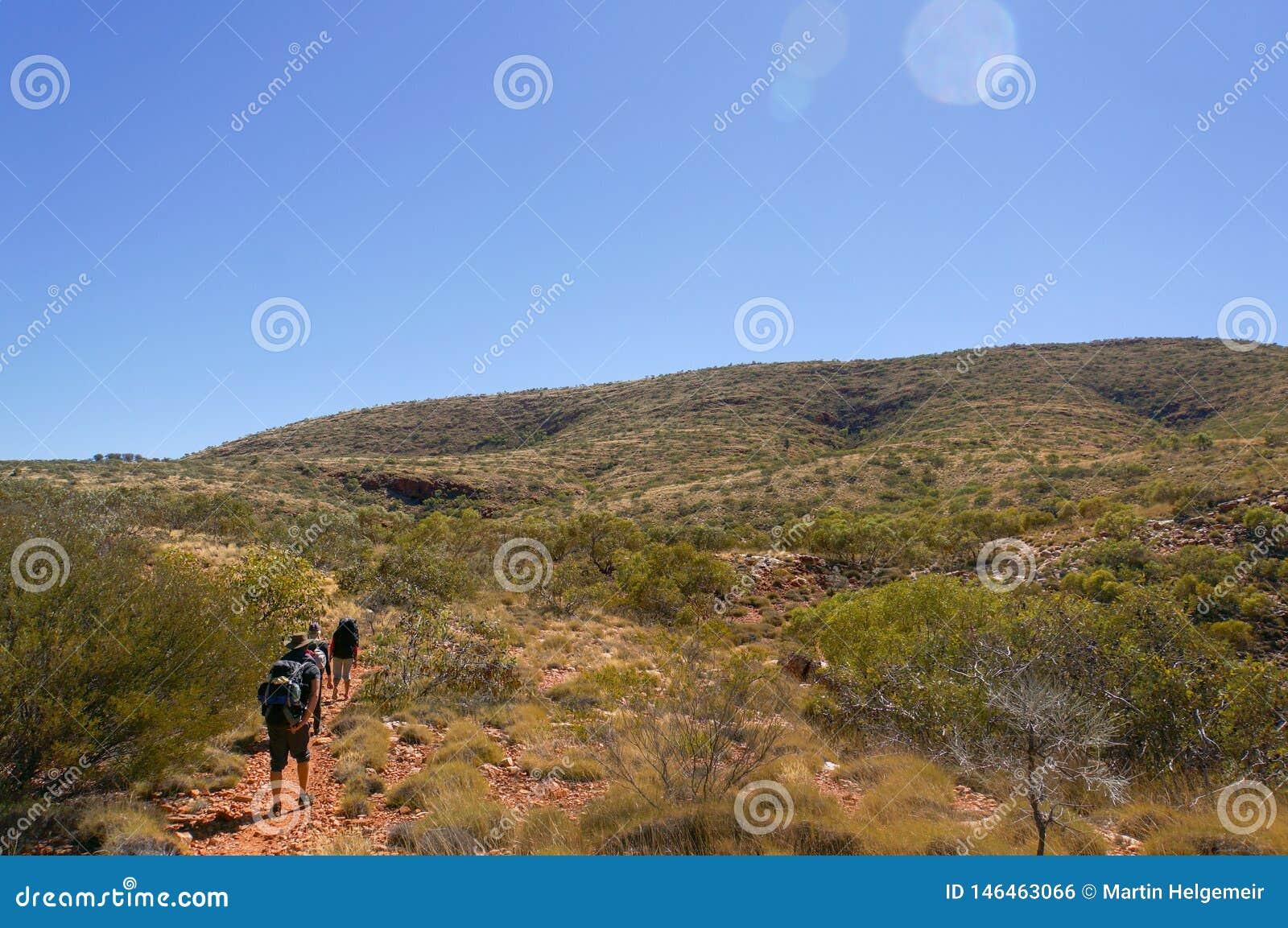 Un grupo de caminantes en el camino al top del exterior Alice Springs, parque nacional del oeste de MacDonnel, Australia de Sonde