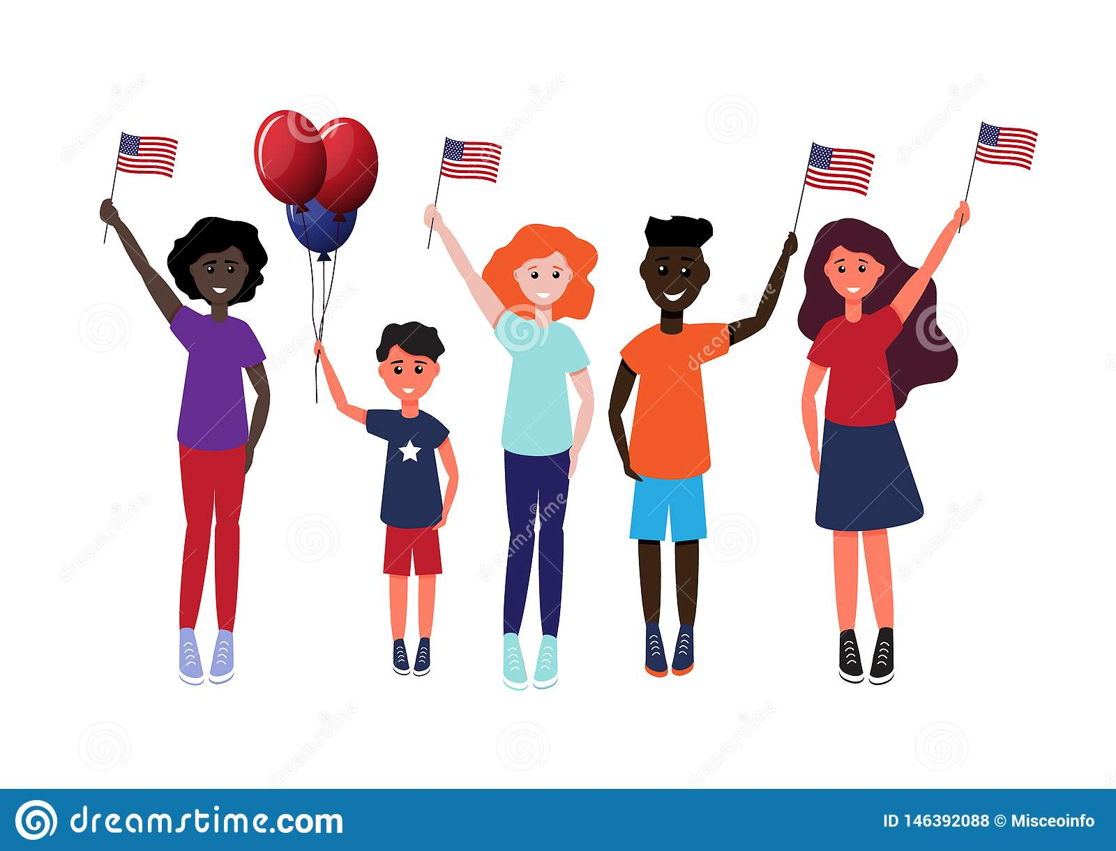 Un grupo de gente feliz de diversas nacionalidades con las banderas en su ejemplo del vector de las manos