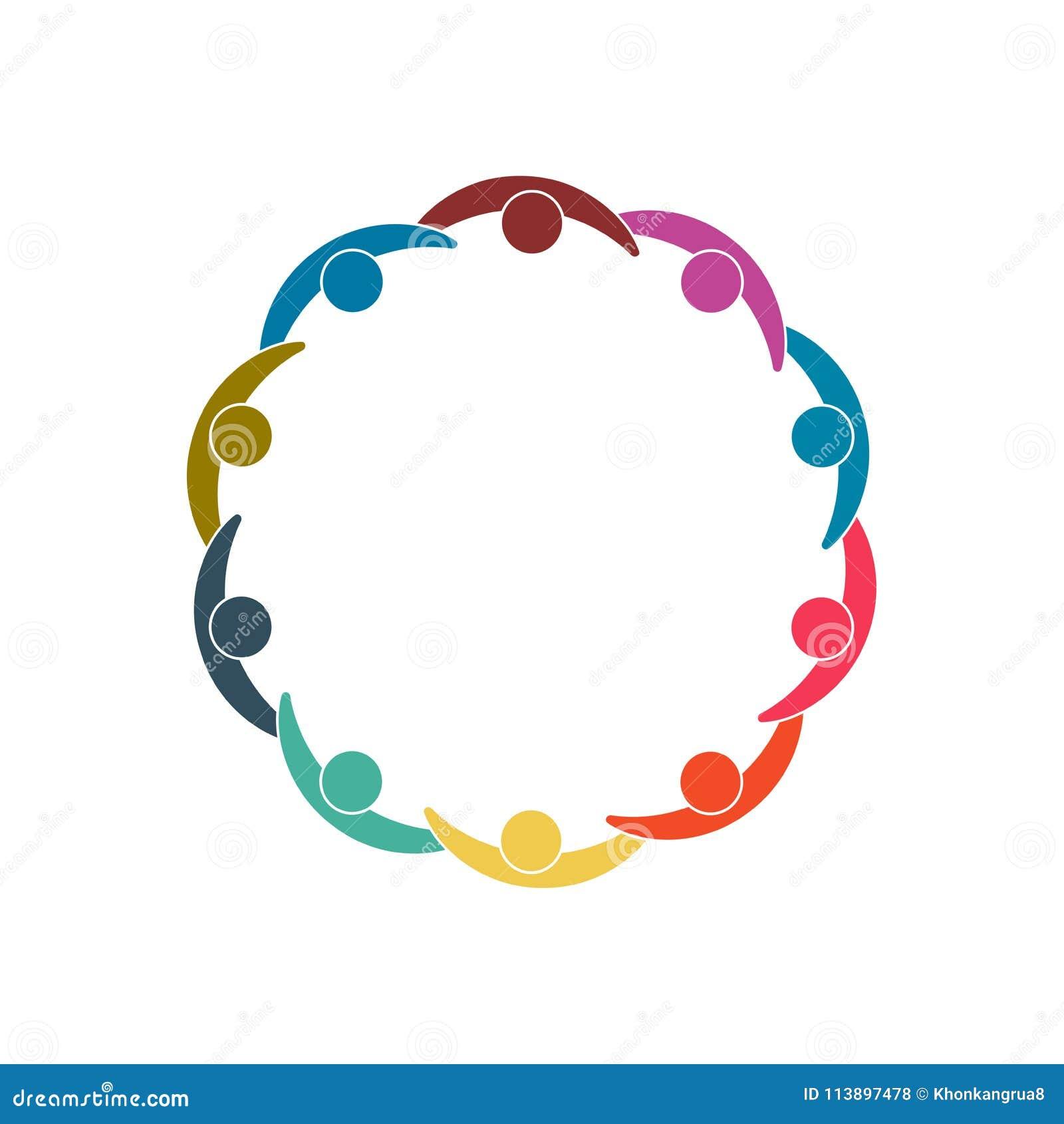 Un gruppo di dieci persone nel cerchio Sorelle che tengono le mani I lavoratori della sommità stanno incontrando nella stessa sta