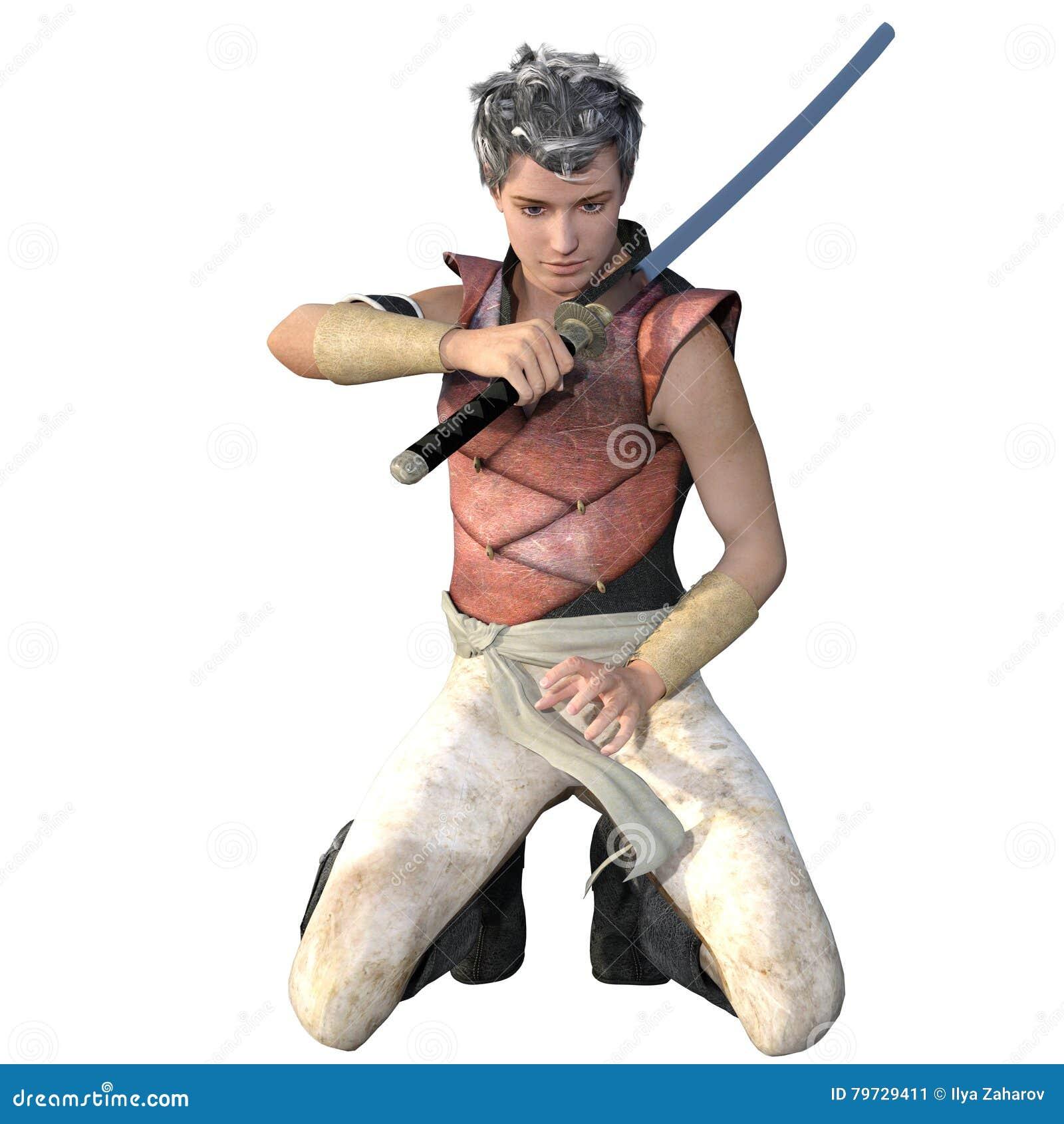 Un guerrero a partir de un rato antiguo en armadura ligera con una espada