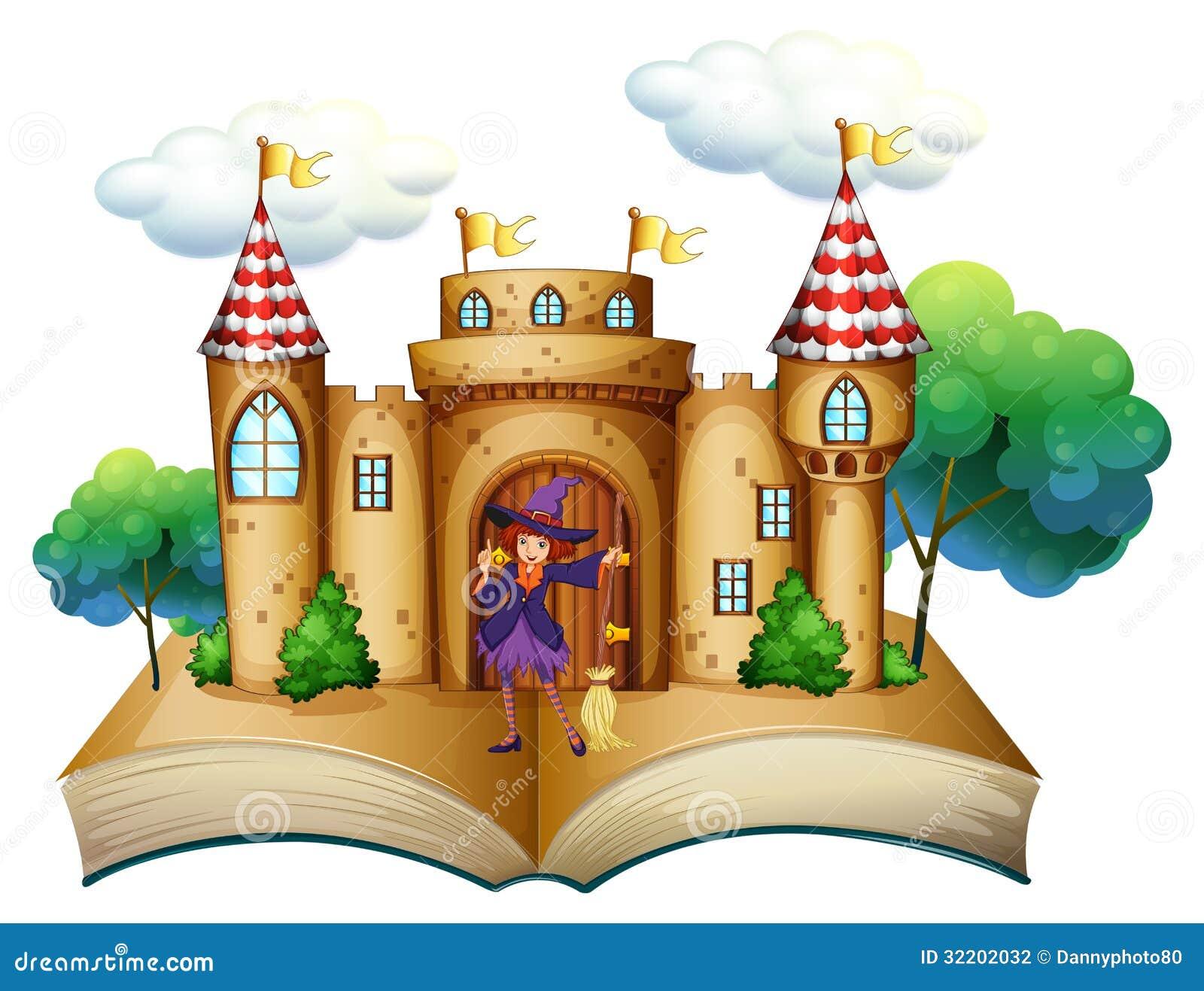 Un guión con un castillo y una bruja