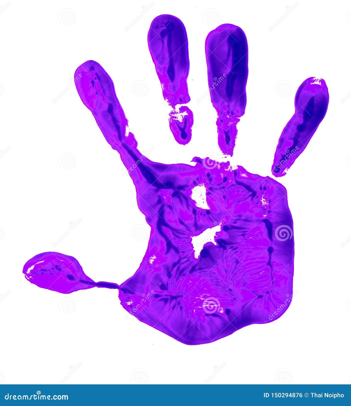 Cuisine Moderne Couleur Violet un handprint violet de couleur sur un fond blanc, dépeignant
