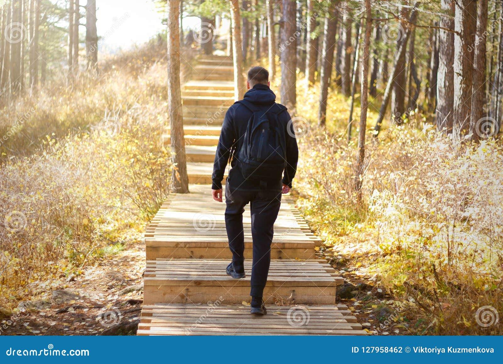 Un hombre con una mochila encima de las escaleras en el bosque Madera asoleada Escalera de madera