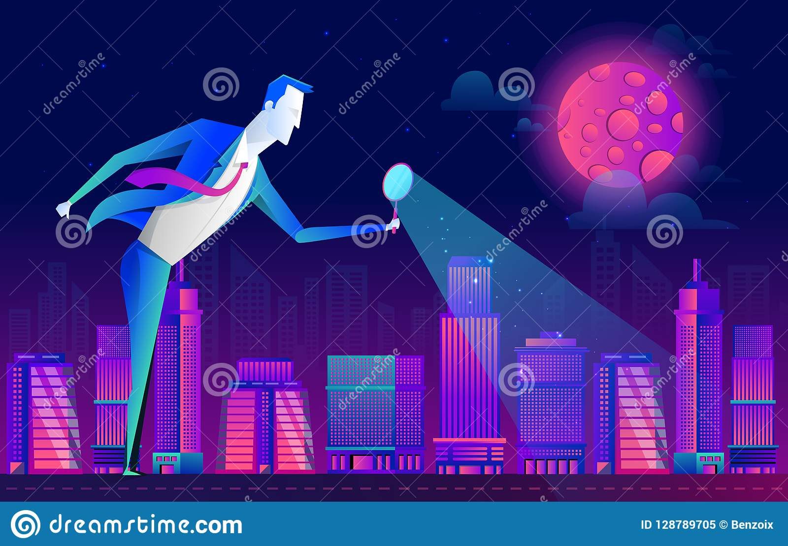 Un hombre en un traje de negocios mira la gente y la ciudad a través de una lupa, diseño plano del vector