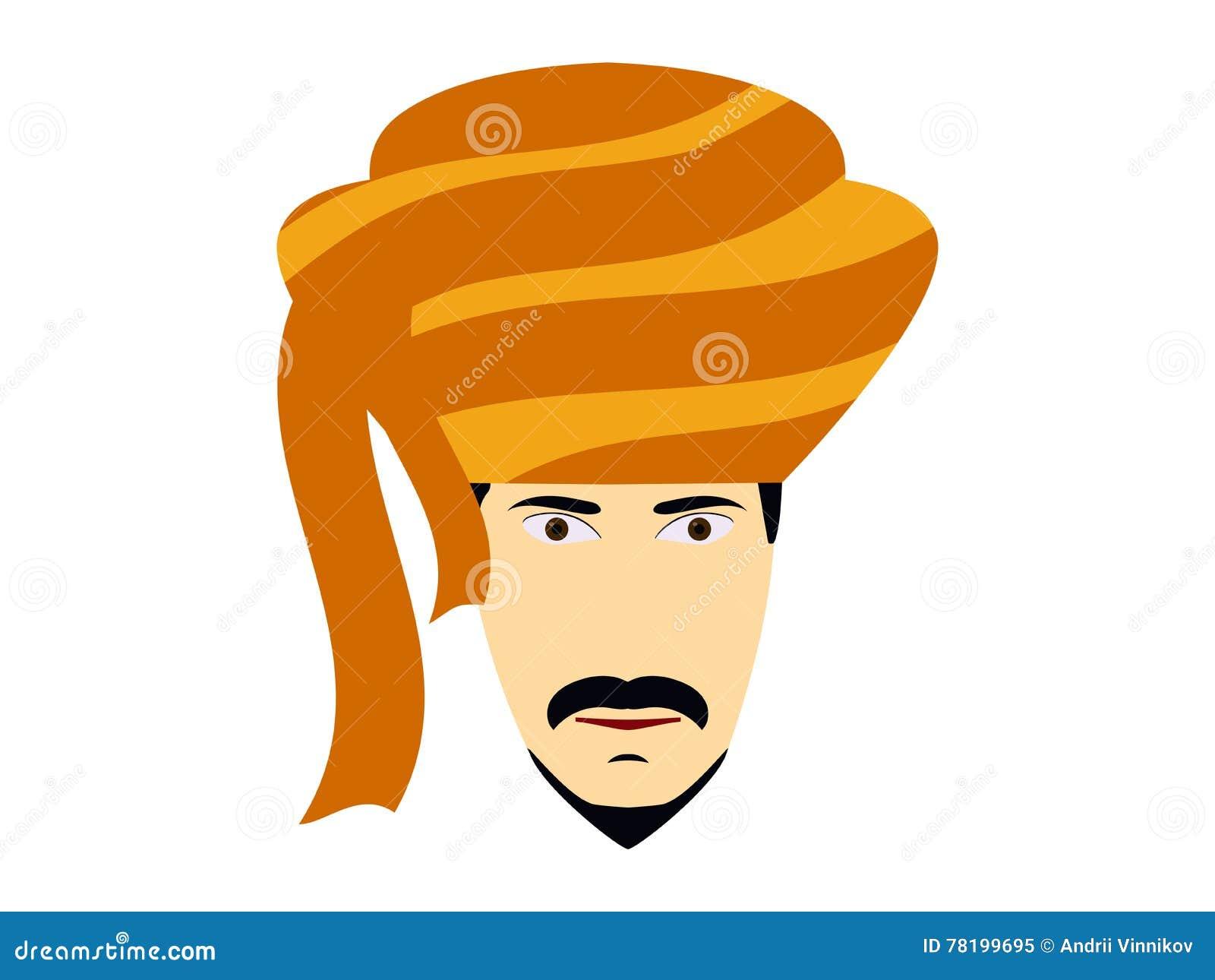 Un Hombre En Un Turbante Tocado Indio Tradicional Hombre Indio En Un ...