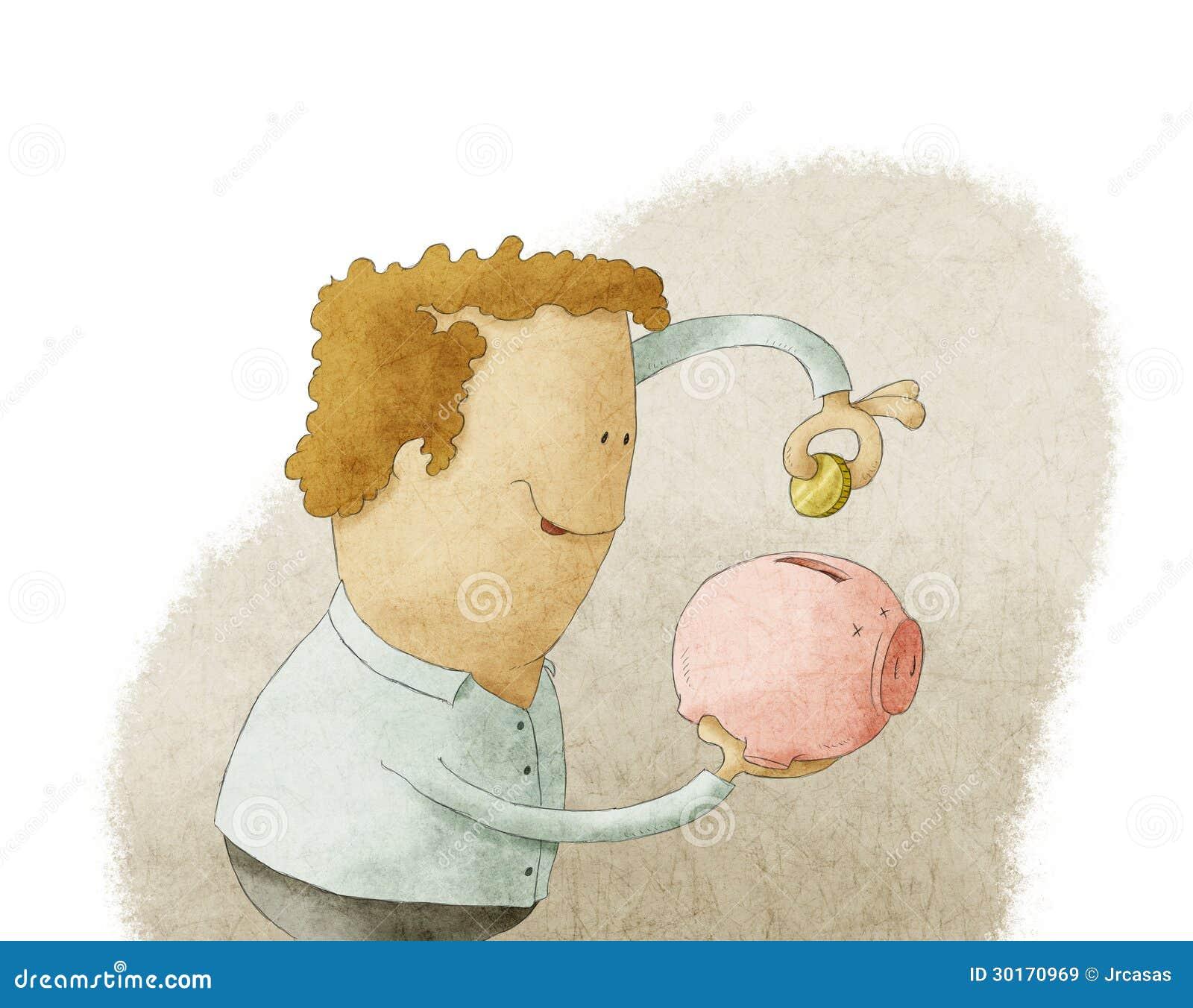 Hombre joven que pone la moneda en una hucha