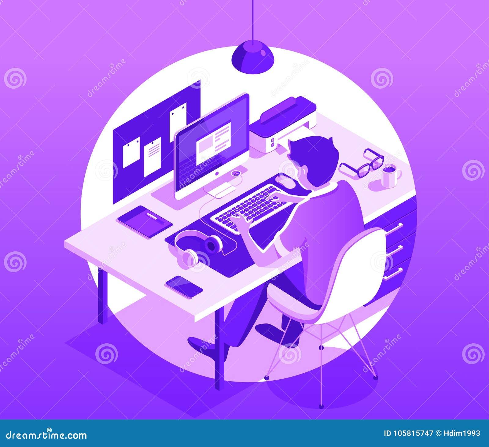 Un hombre que trabaja en el ordenador Concepto del espacio de trabajo Ejemplo isométrico del vector 3d