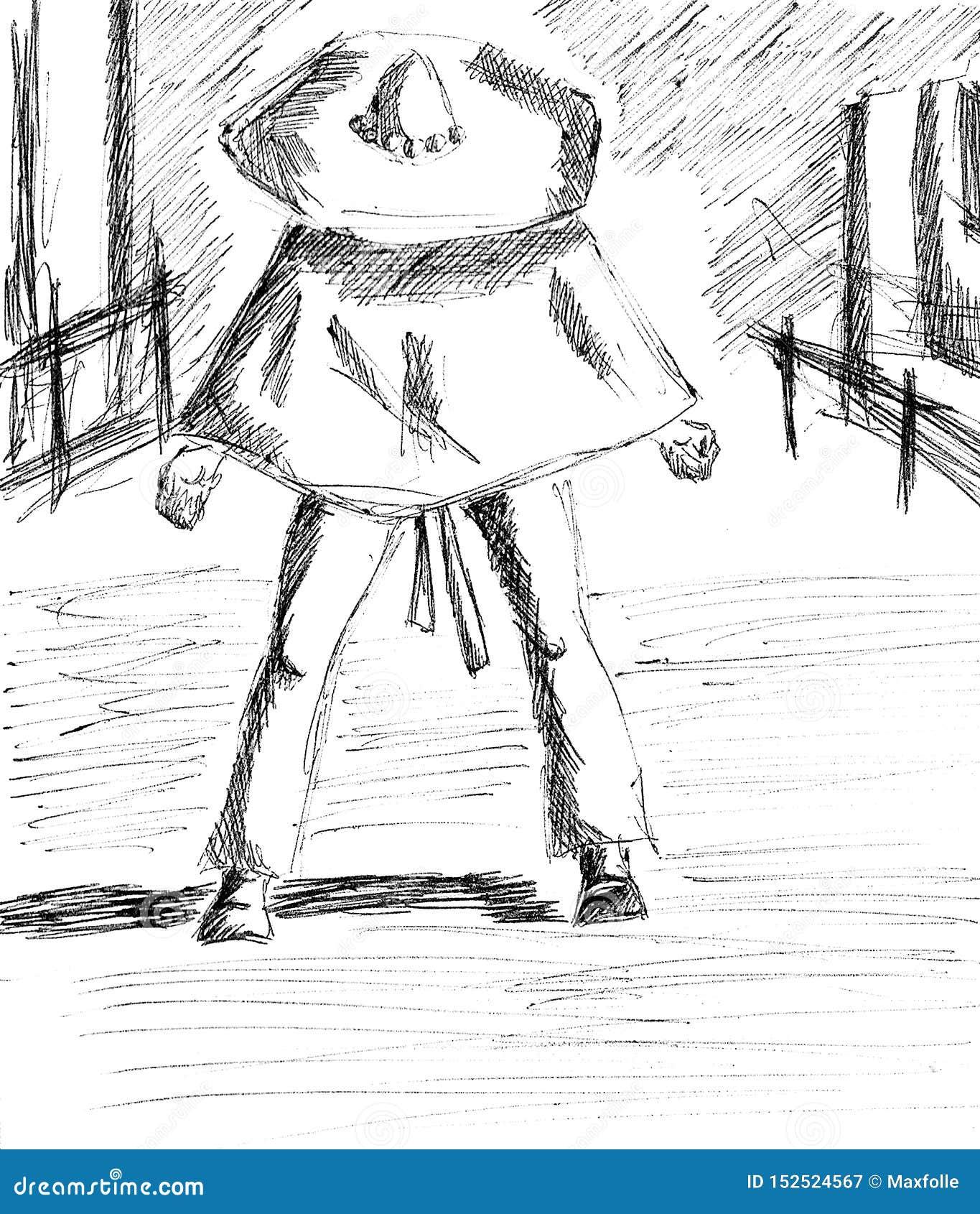 Un homme avec un sombrero prêt pour un duel