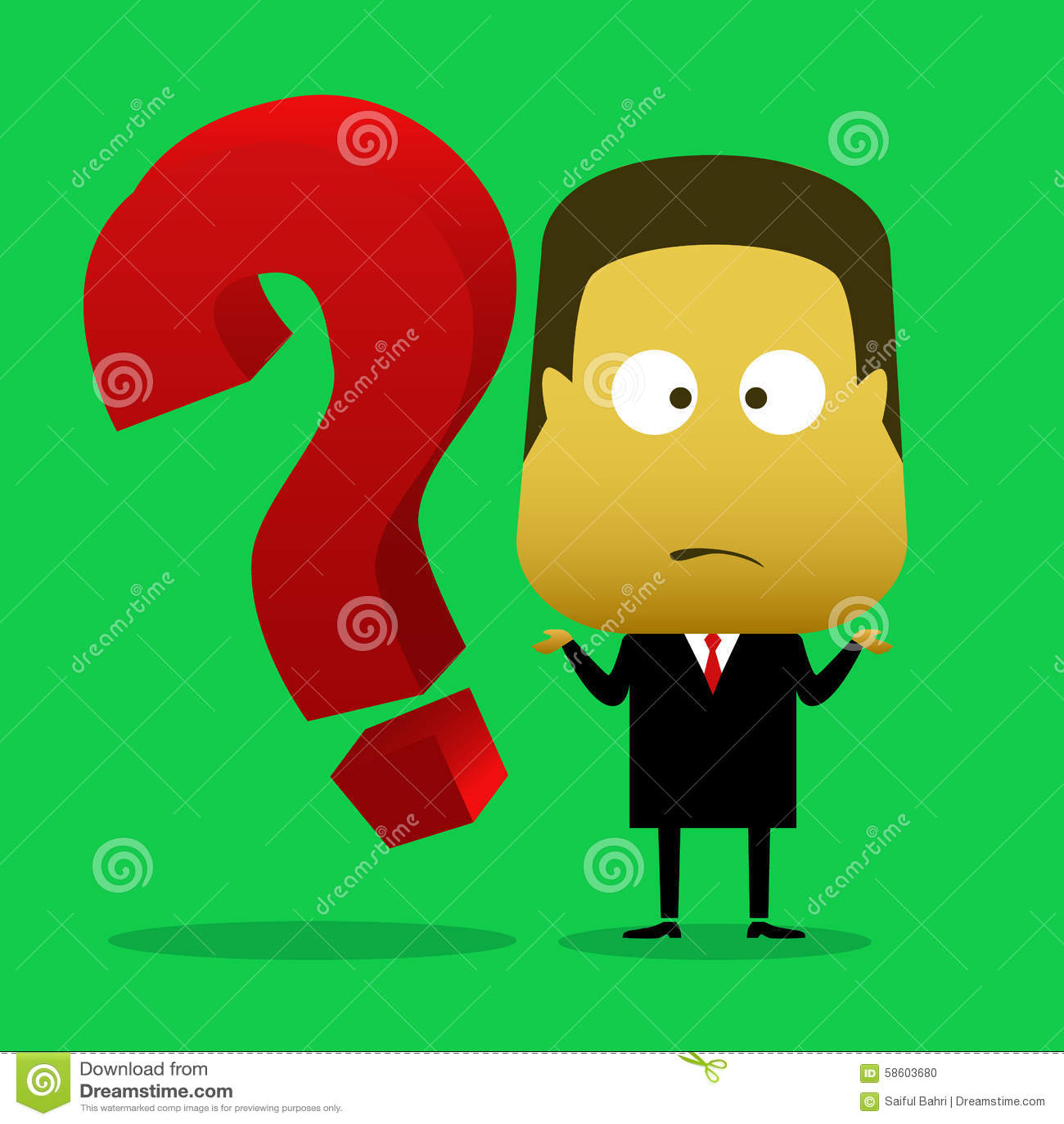 Un homme d affaires était confus et à côté de lui il y a un point d interrogation