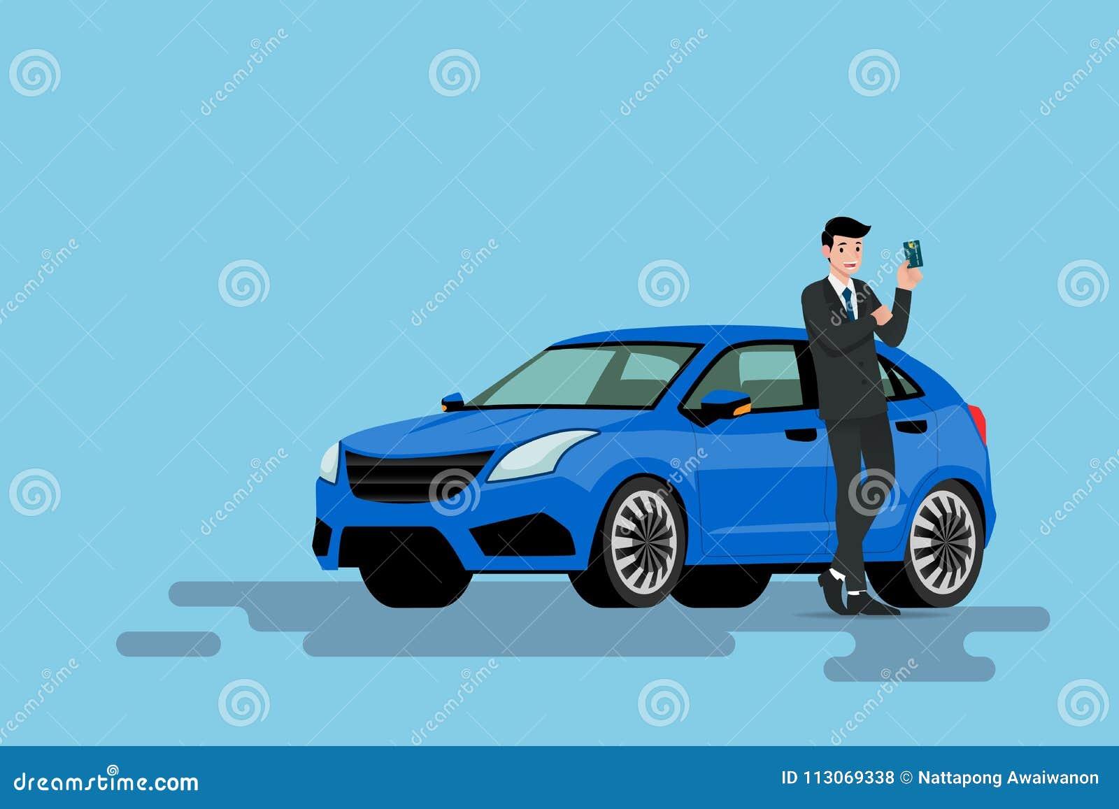 Un homme d affaires heureux se penche sur sa nouvelle voiture et prouve à sa carte de crédit qu il emploient acheté le véhicule