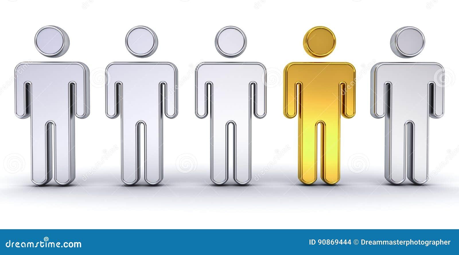 Un homme d or se tenant de la foule, de l individualité et du concept créatif différent d idée