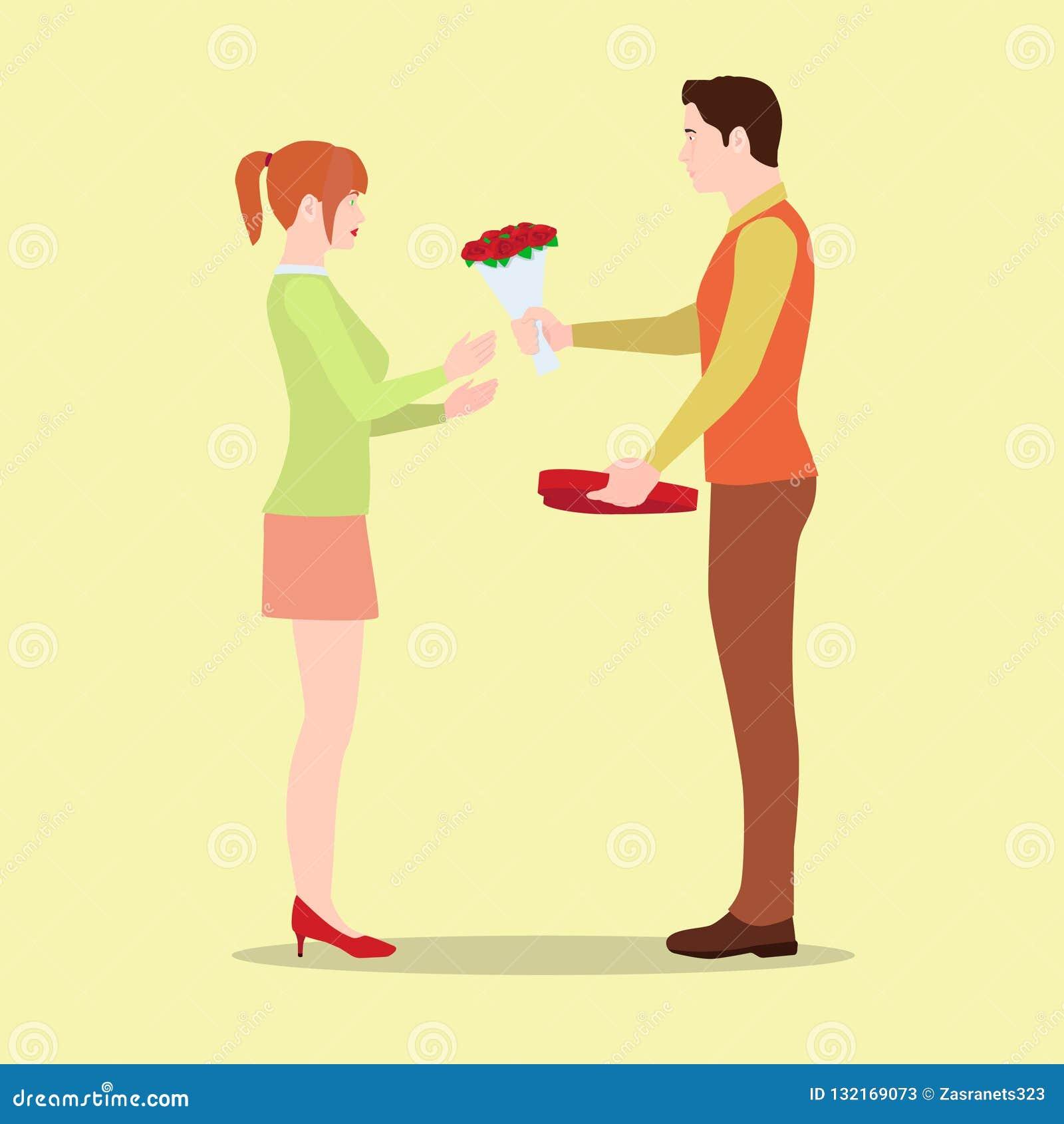 Un homme donne à son amie des fleurs et une boîte de chocolats