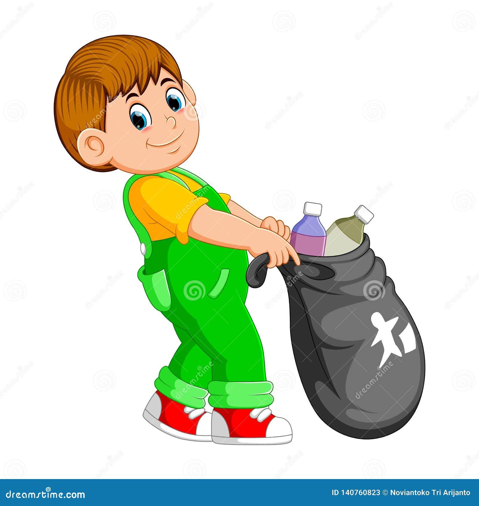 Un homme portent le sac de déchets