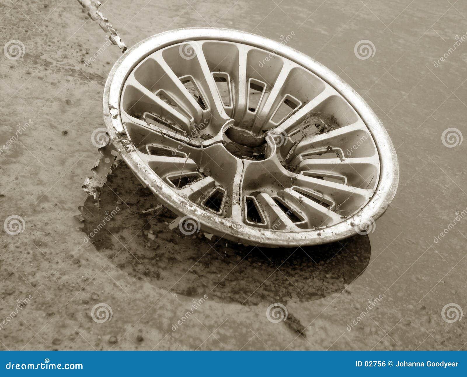 Un hubcap viejo
