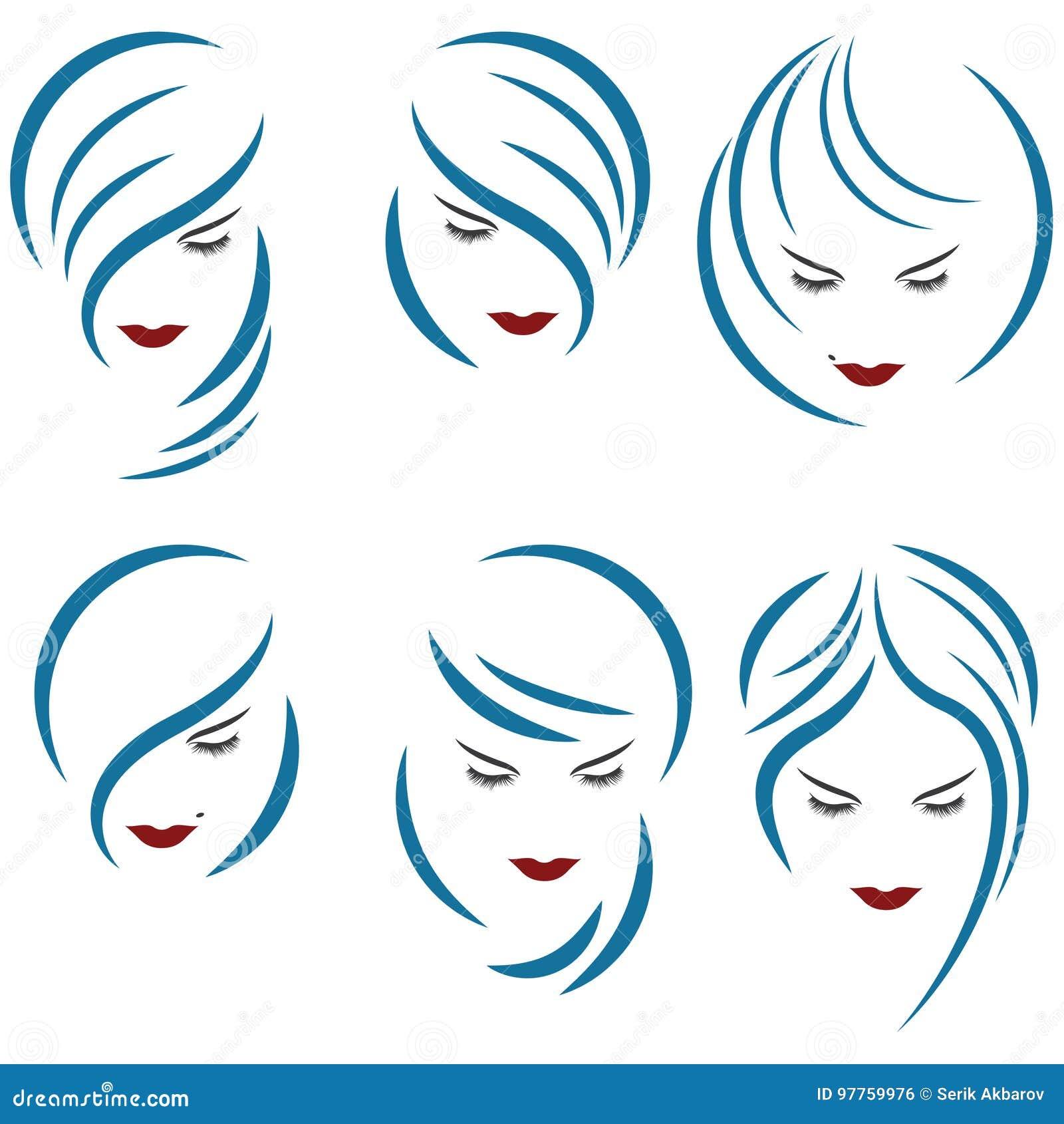 Un illustrazione che consiste di sei immagini delle teste femminili