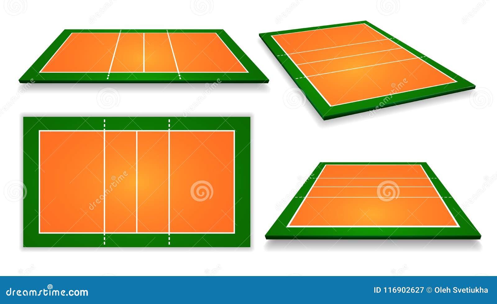 Un illustrazione di un insieme della corte di pallavolo di vista aerea Vettore ENV 10