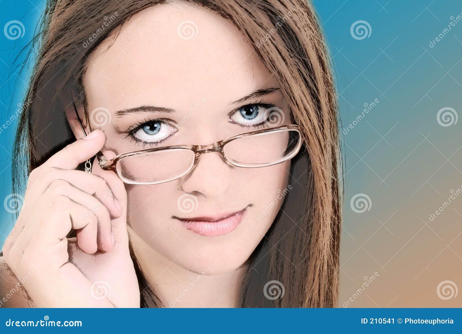 Un illustrazione di quattordici anni in occhiali della ragazza