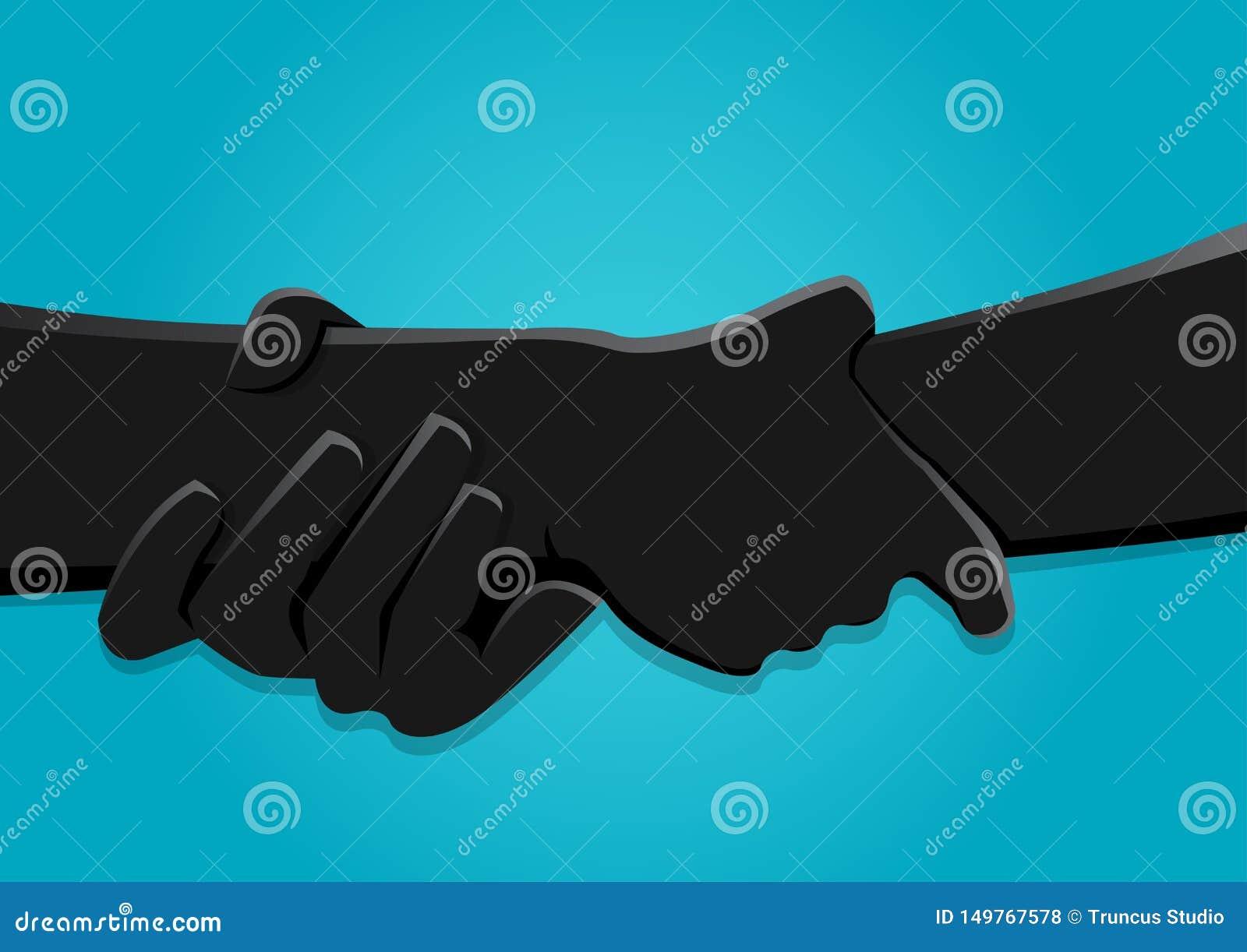 Un illustrazione di riserva di vettore di due mani che si tengono forte