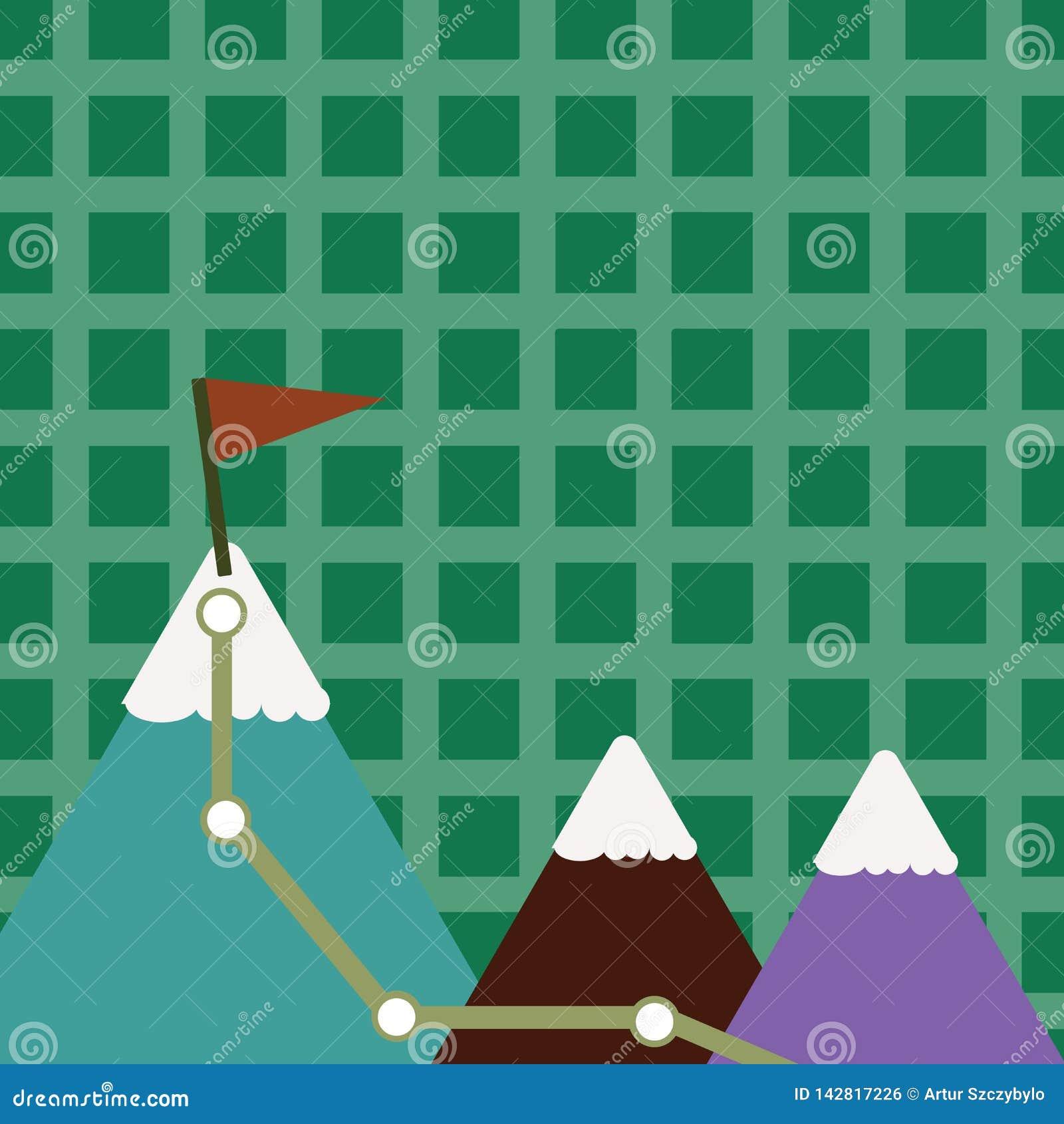 Un illustrazione di tre montagne variopinte con la traccia e della cima bianca di Snowy con la bandiera su un picco Priorità bass