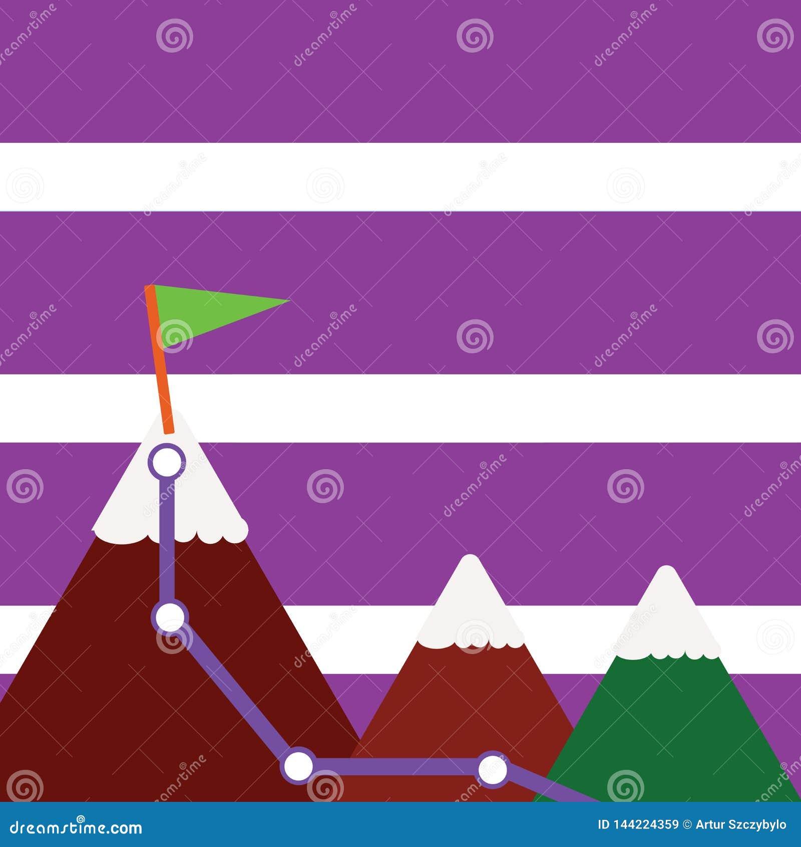 Un illustrazione di tre montagne variopinte con la traccia e della cima bianca di Snowy con la bandiera su un picco Priorit? bass