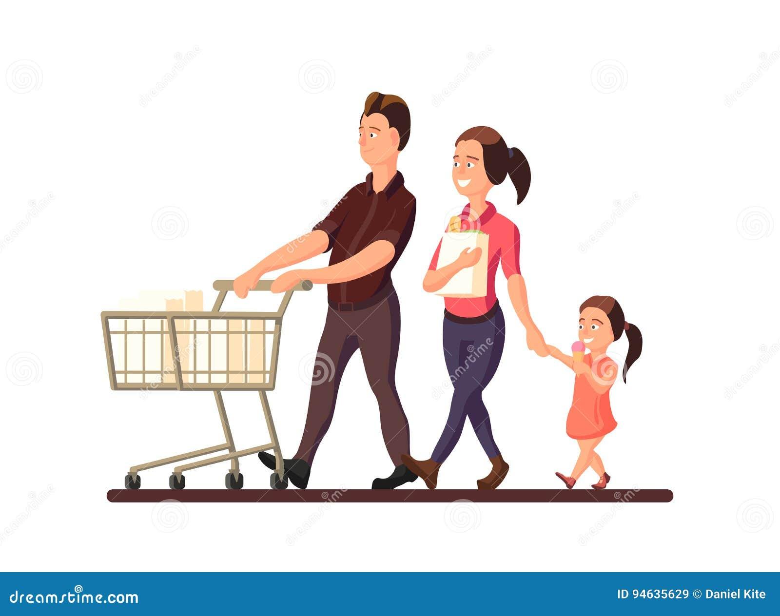Un illustrazione di vettore della famiglia che va al mercato Caratteri dei membri sorridenti della famiglia: madre, padre e bambi