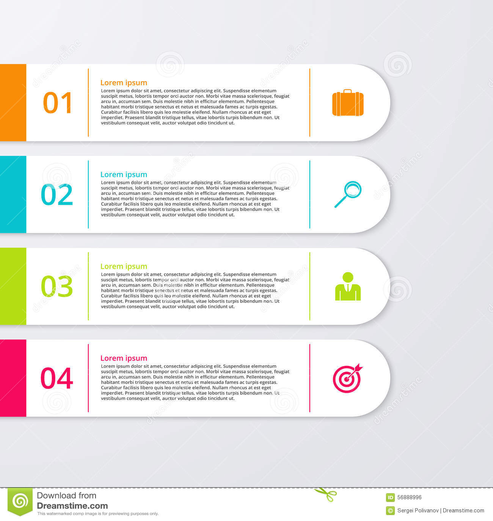 Un illustrazione di vettore di un infographics di quattro rettangoli