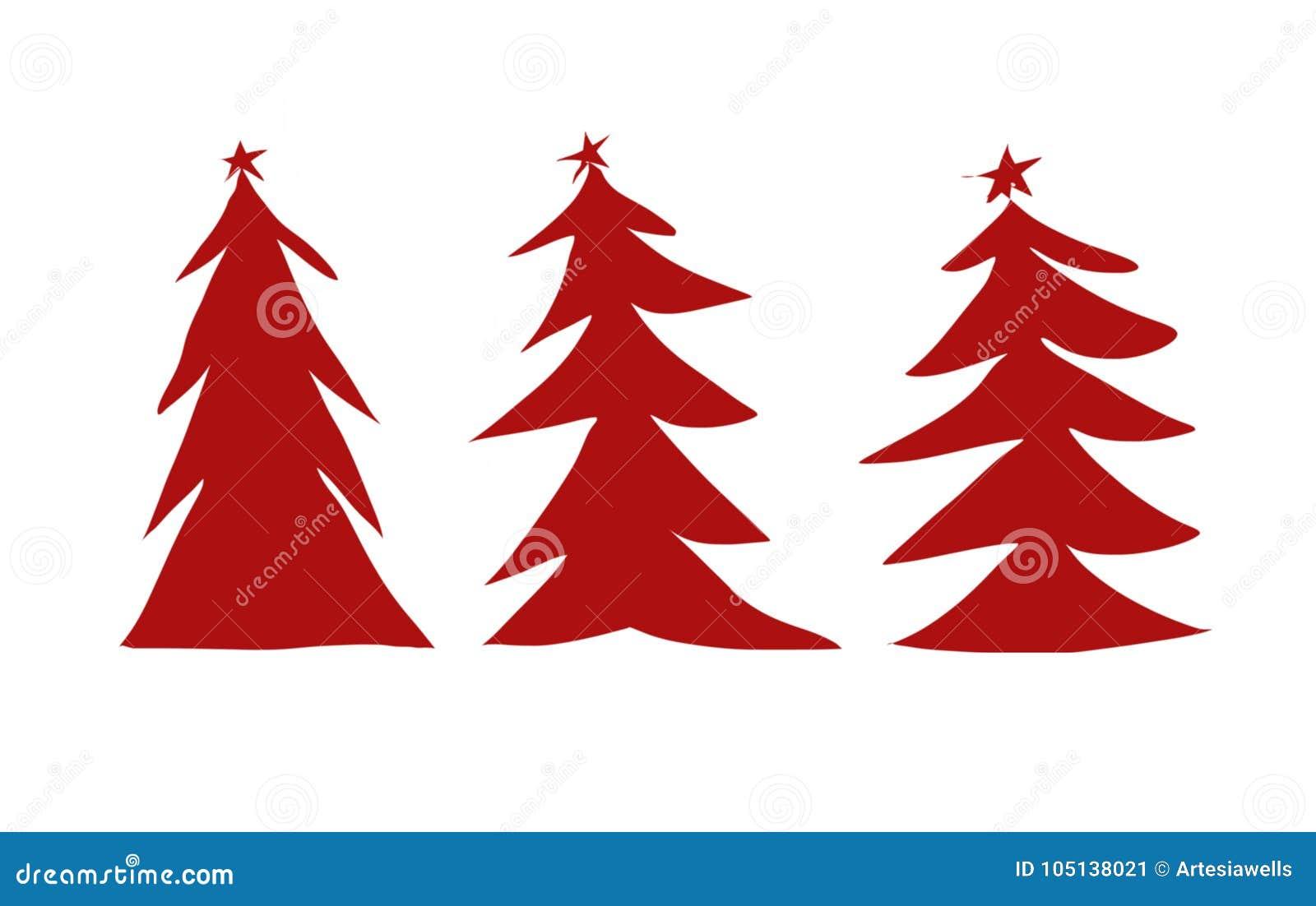 Un illustrazione rossa di tre alberi di Natale