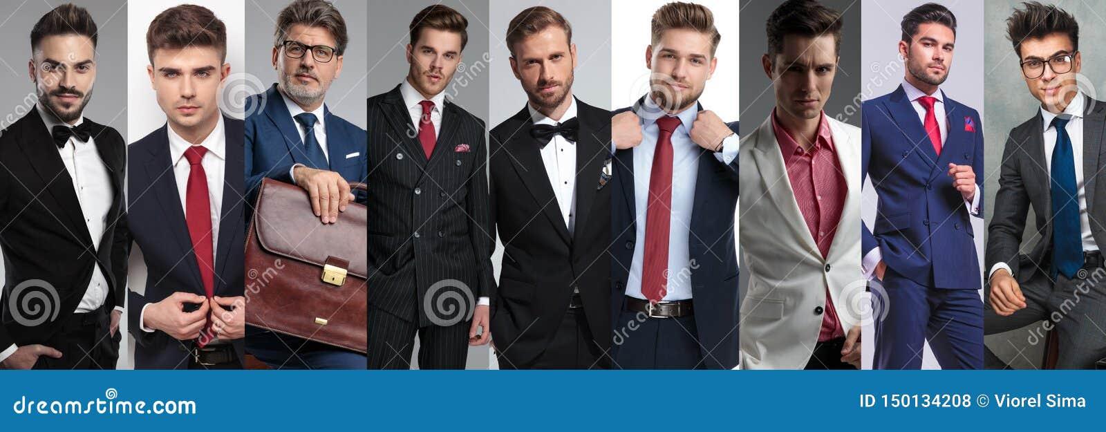 Un immagine del collage di nove uomini casuali differenti che indossano i vestiti