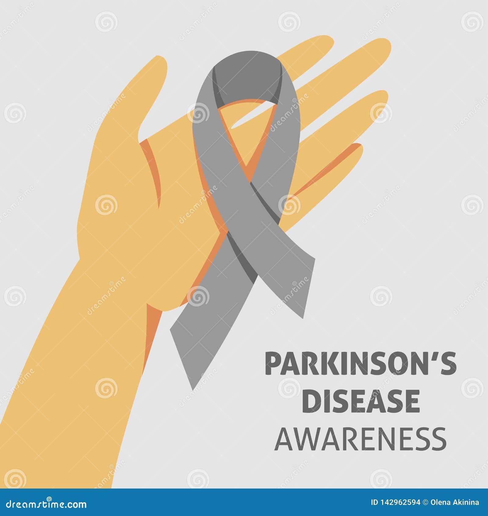 Un immagine quadrata di vettore con un nastro grigio come simbolo di consapevolezza della malattia di parkinson Un giorno della m