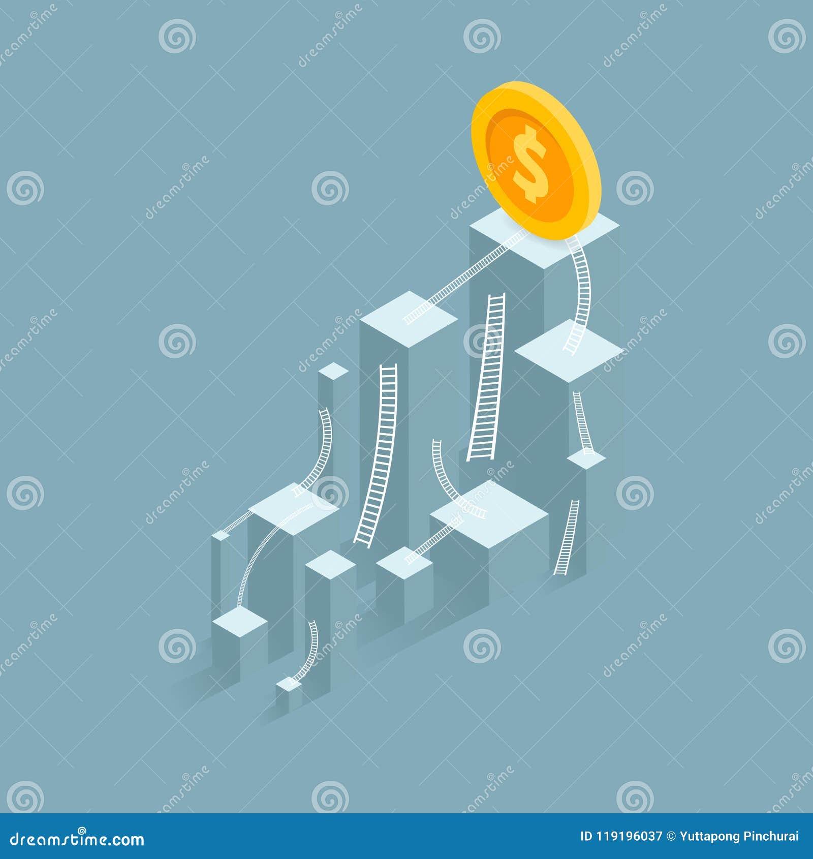 Un indicador del éxito negocio del gráfico de barra al éxito del horario financiero Líder, ganador y concepto de éxito Illu del v