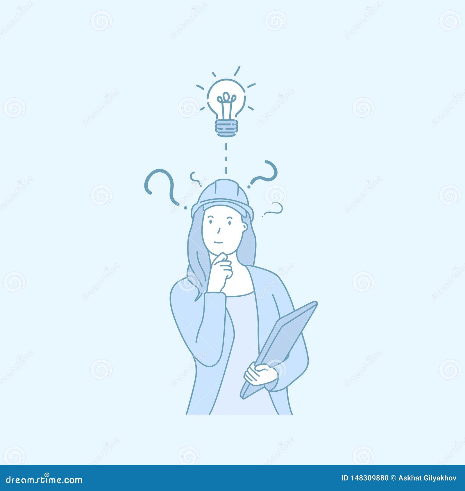 Un ingeniero de la mujer tiene un vector exhausto del estilo de la buena mano de la idea