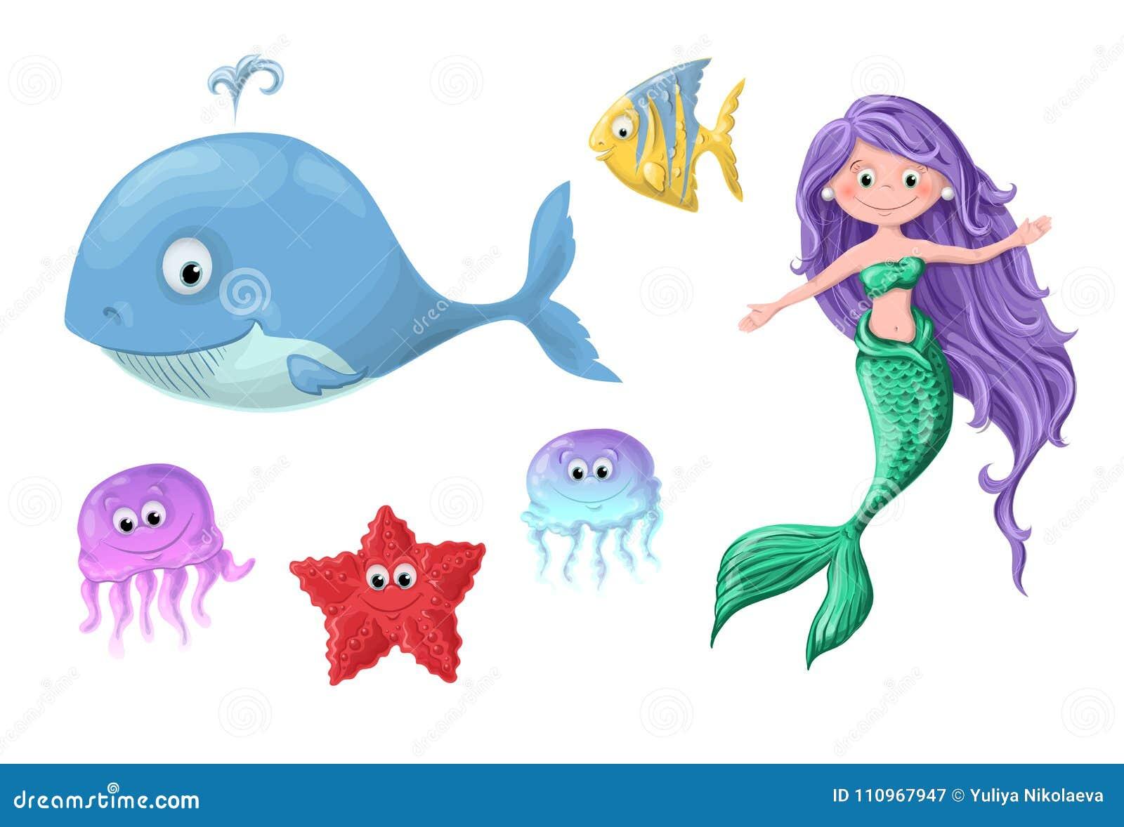 Un insieme degli abitanti nautici svegli del fumetto divertente - una sirena, una balena, un pesce, una stella marina e medusa