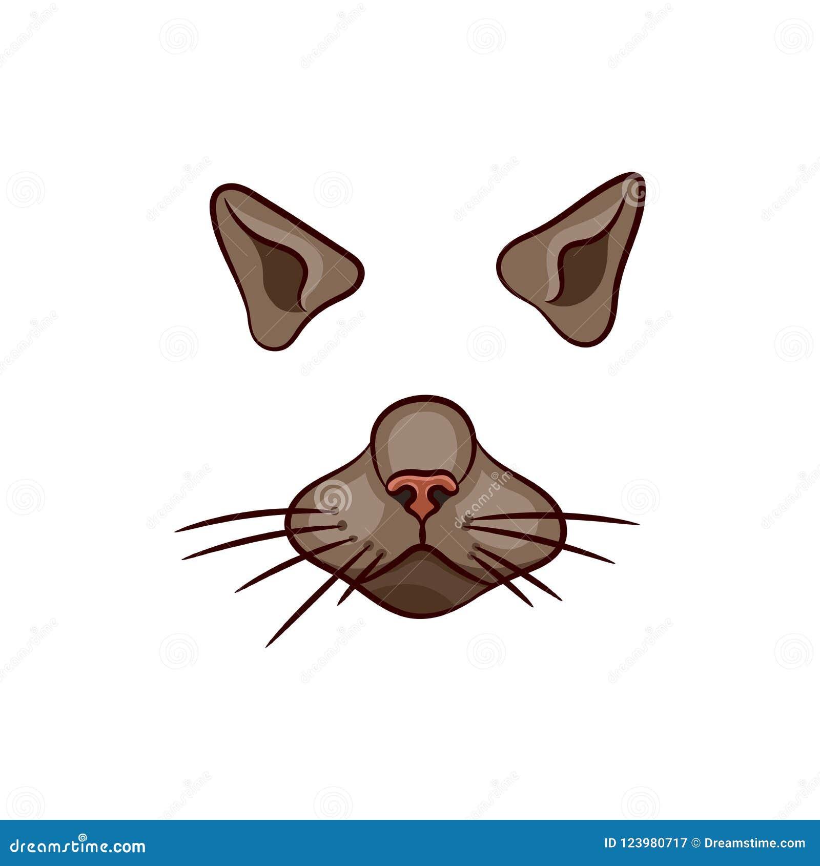 Un insieme degli elementi animali del fronte La progettazione dell orecchio e del naso Maschera di un gatto