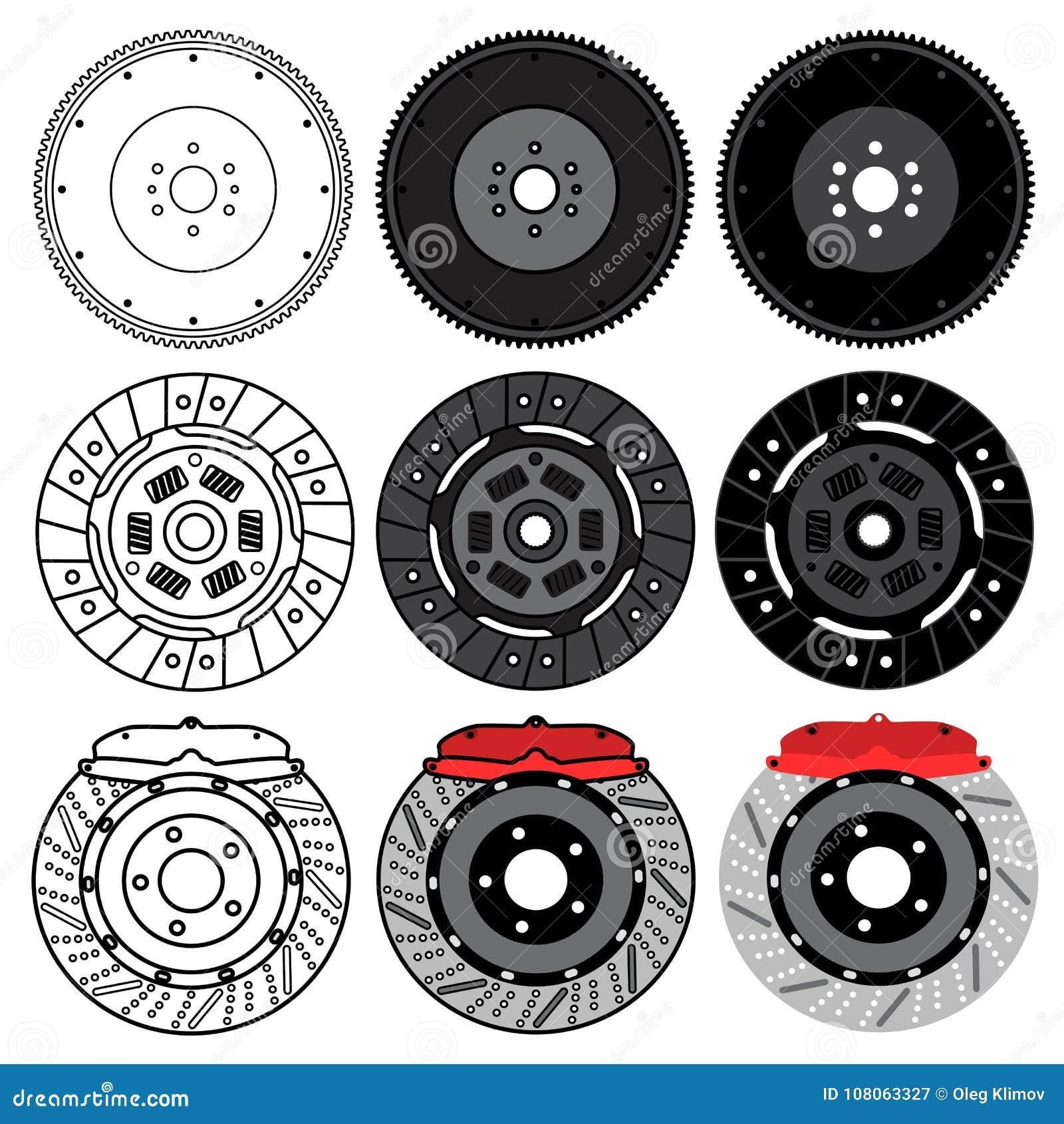 Un insieme dei pezzi di ricambio dell automobile per manutenzione dell automobile Volano, cuscinetti di freno, disco del freno Is