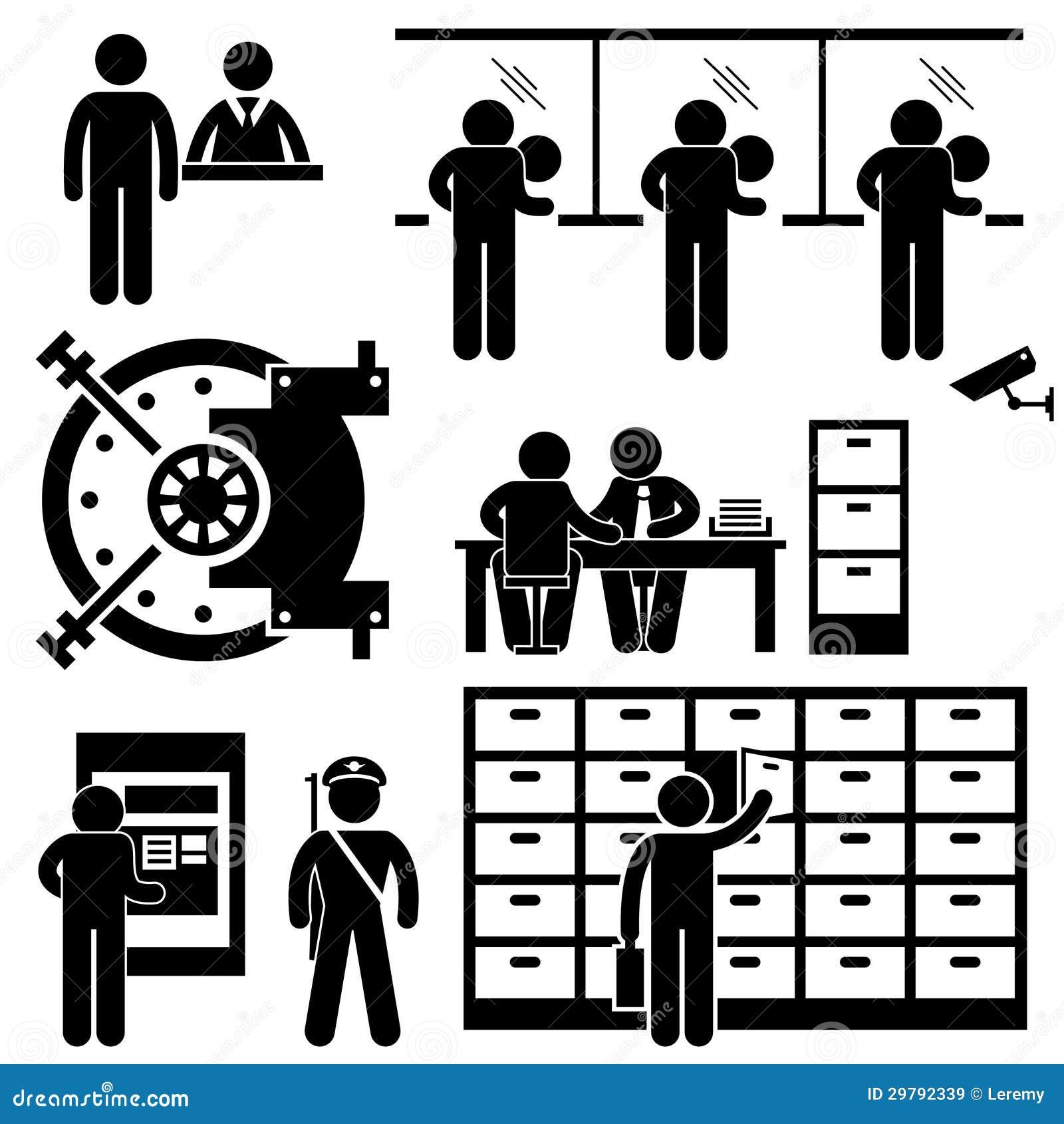 Pittogramma del lavoratore di finanze di affari della Banca